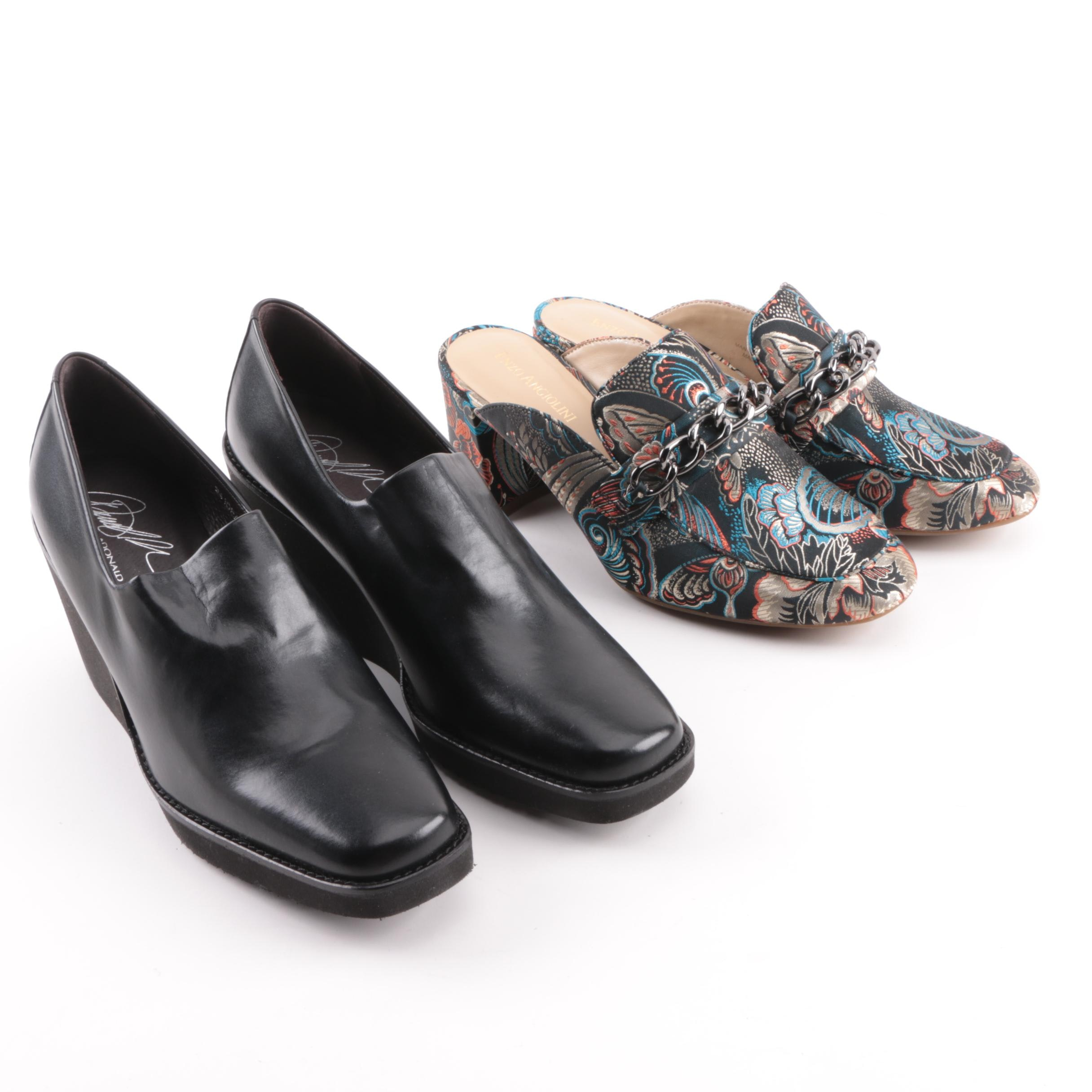 Donald J Pliner Black Leather Wedges and Enzo Angiolini Brocade Mules