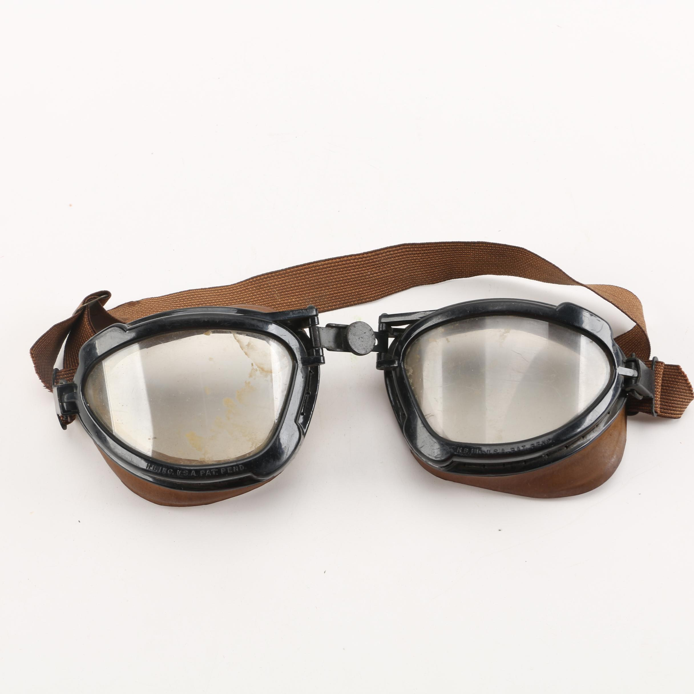 WWII Era H.B. Inc. U.S. Military Aviator Flight Goggles