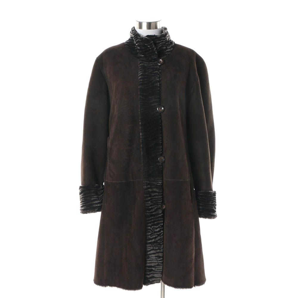 Women's Autunno Shearlings Brown Suede Coat with Black Shearling Trim