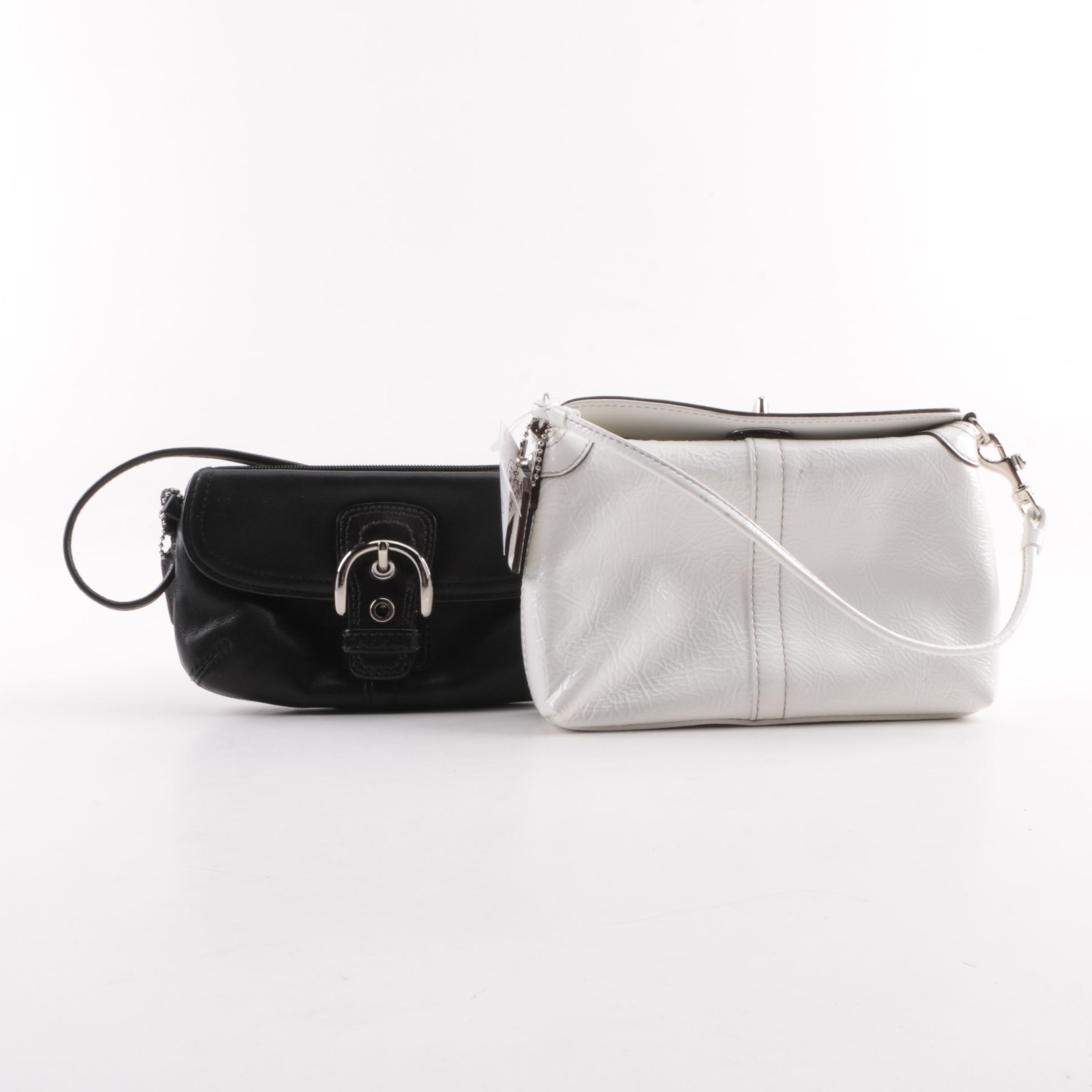 Coach Black Leather and White Patent Leather Wristlets