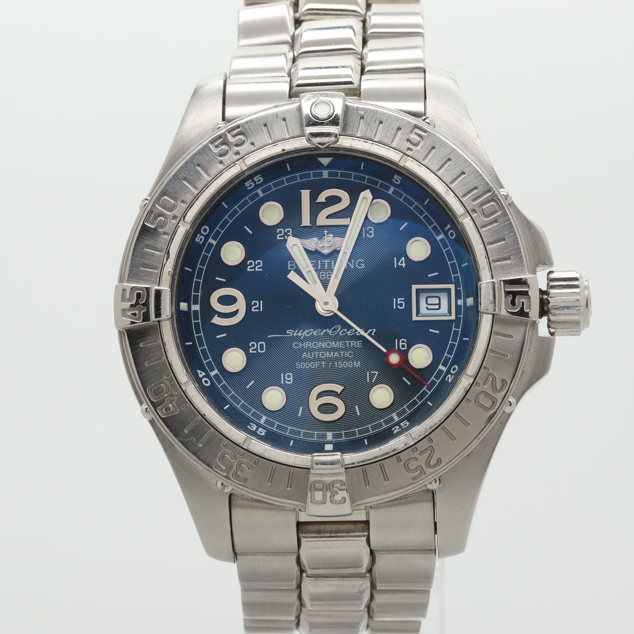 Breitling Stainless Steel Blue Dial Wristwatch