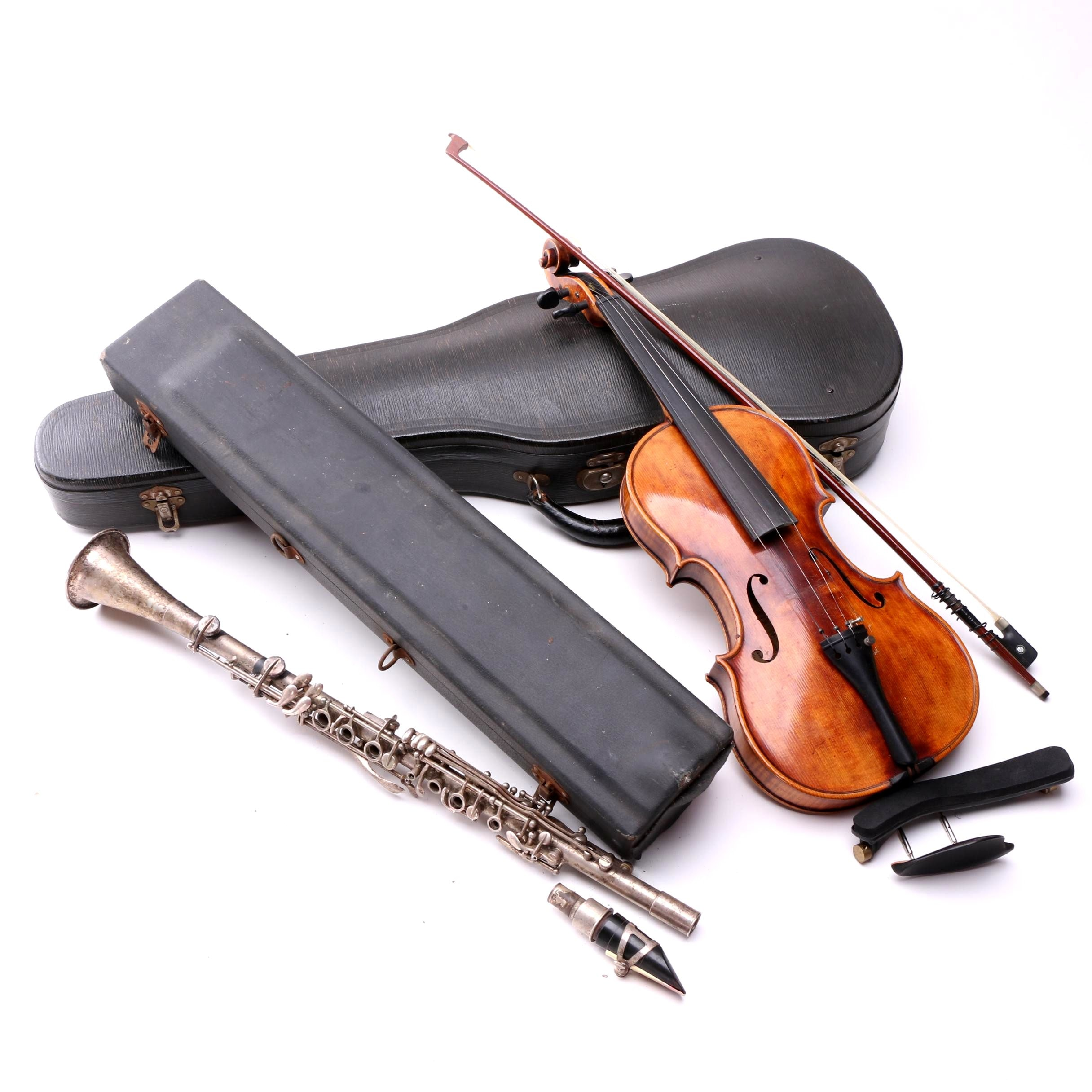 """Violin and Silver Plated """"Manhattan"""" Clarinet with Hardshell Cases"""
