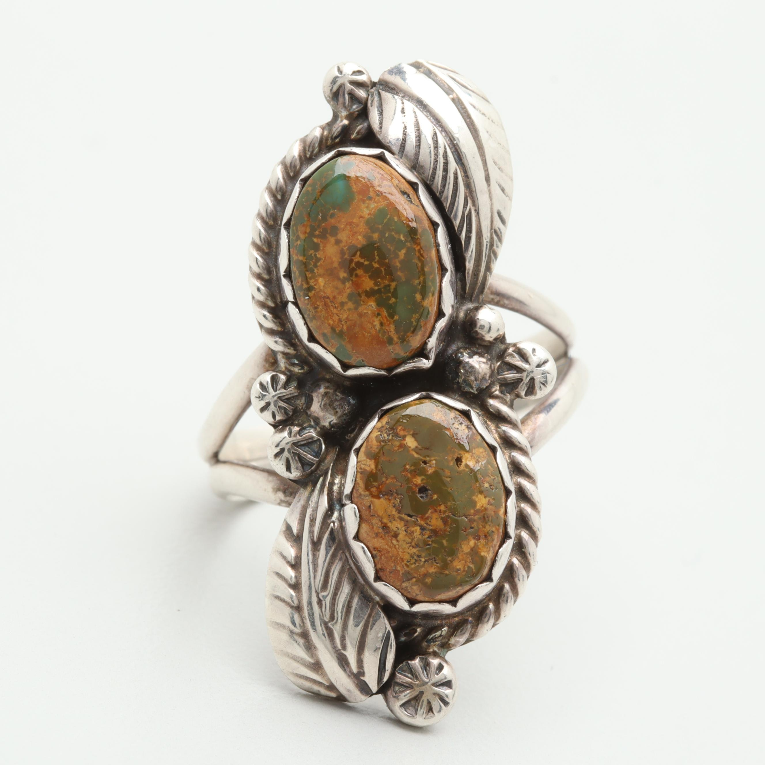 Edith Kee Navajo Diné Sterling Silver Green Turquoise Ring