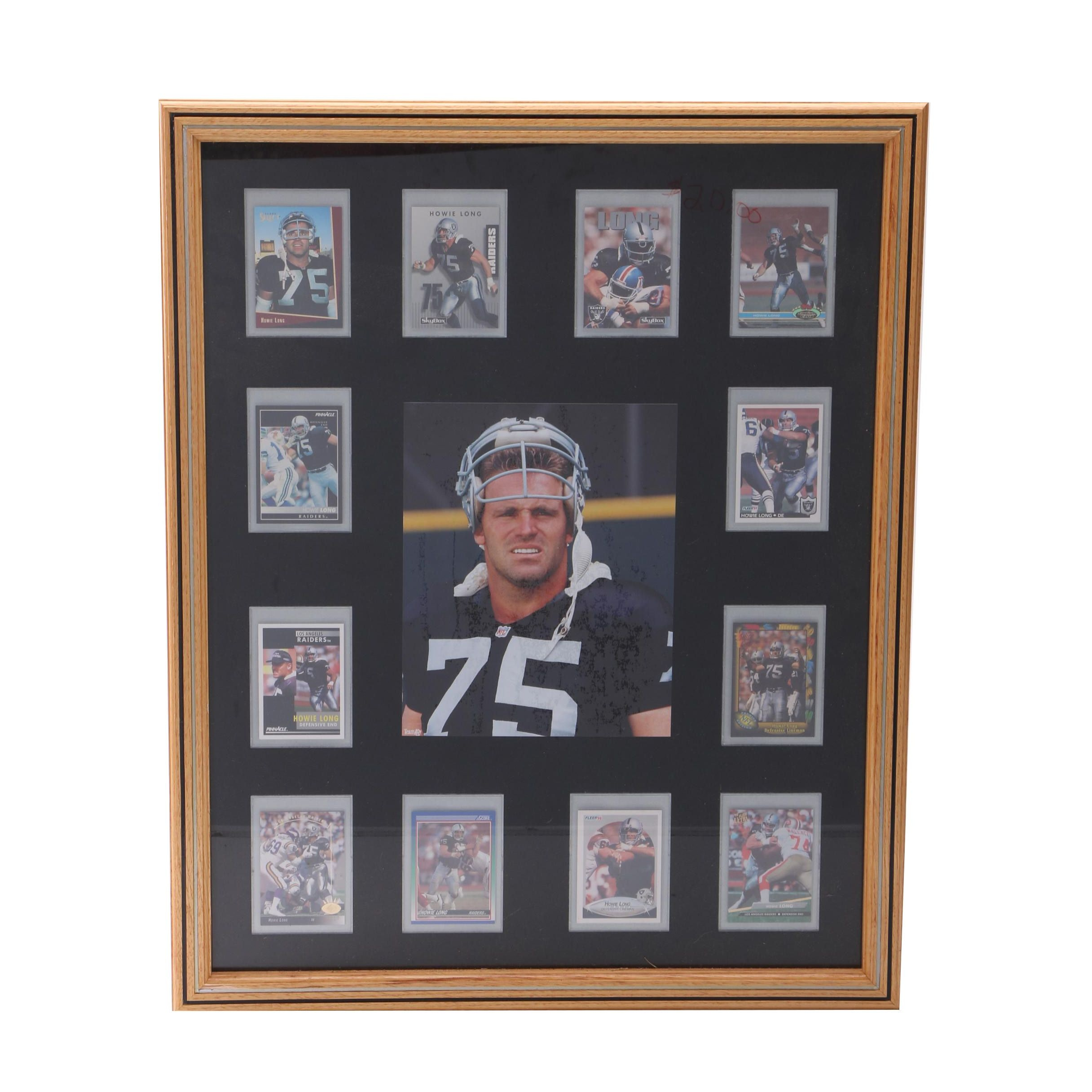 Howie Long Framed Football Playing Card Collage