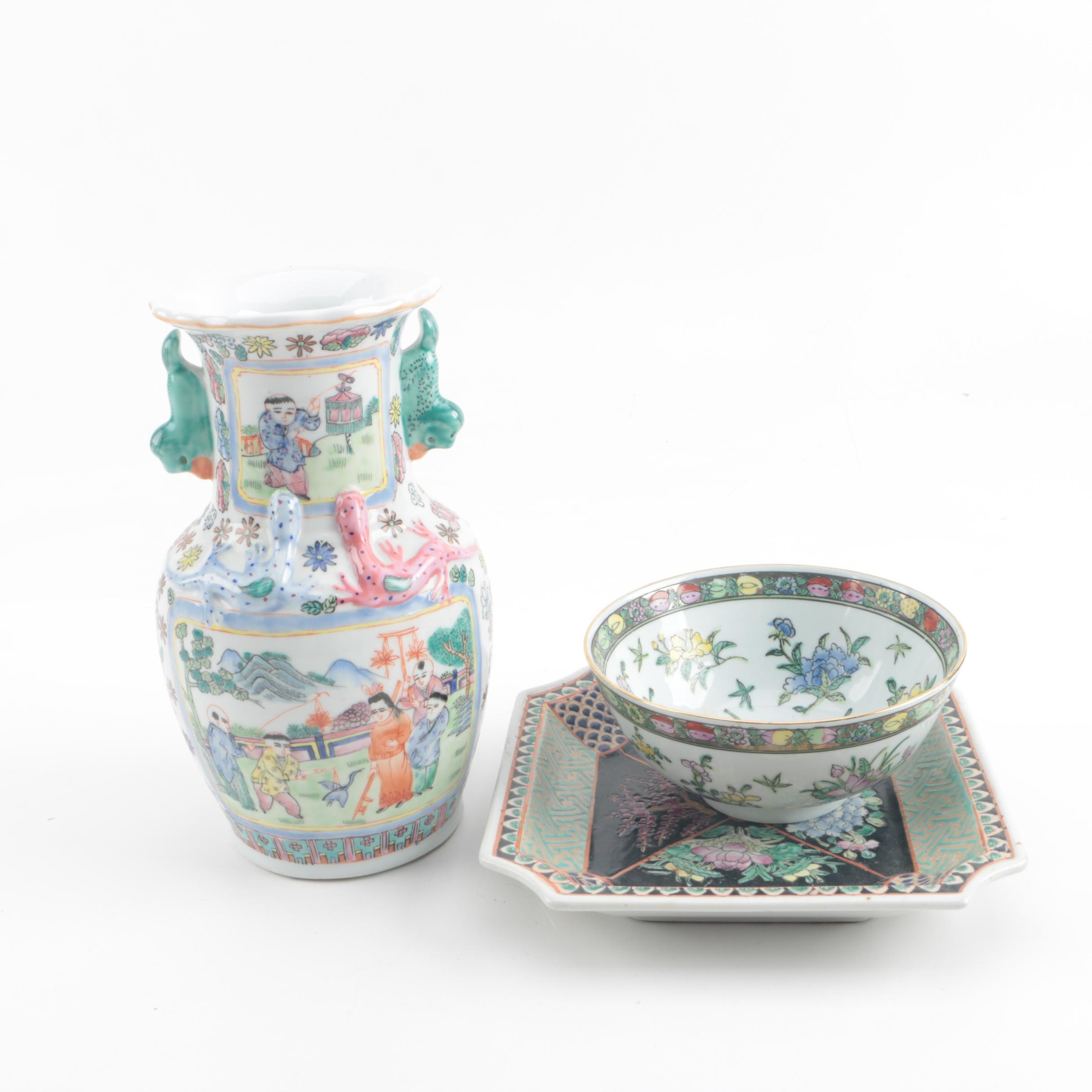 Contemporary Chinese Porcelain Vase and Decor