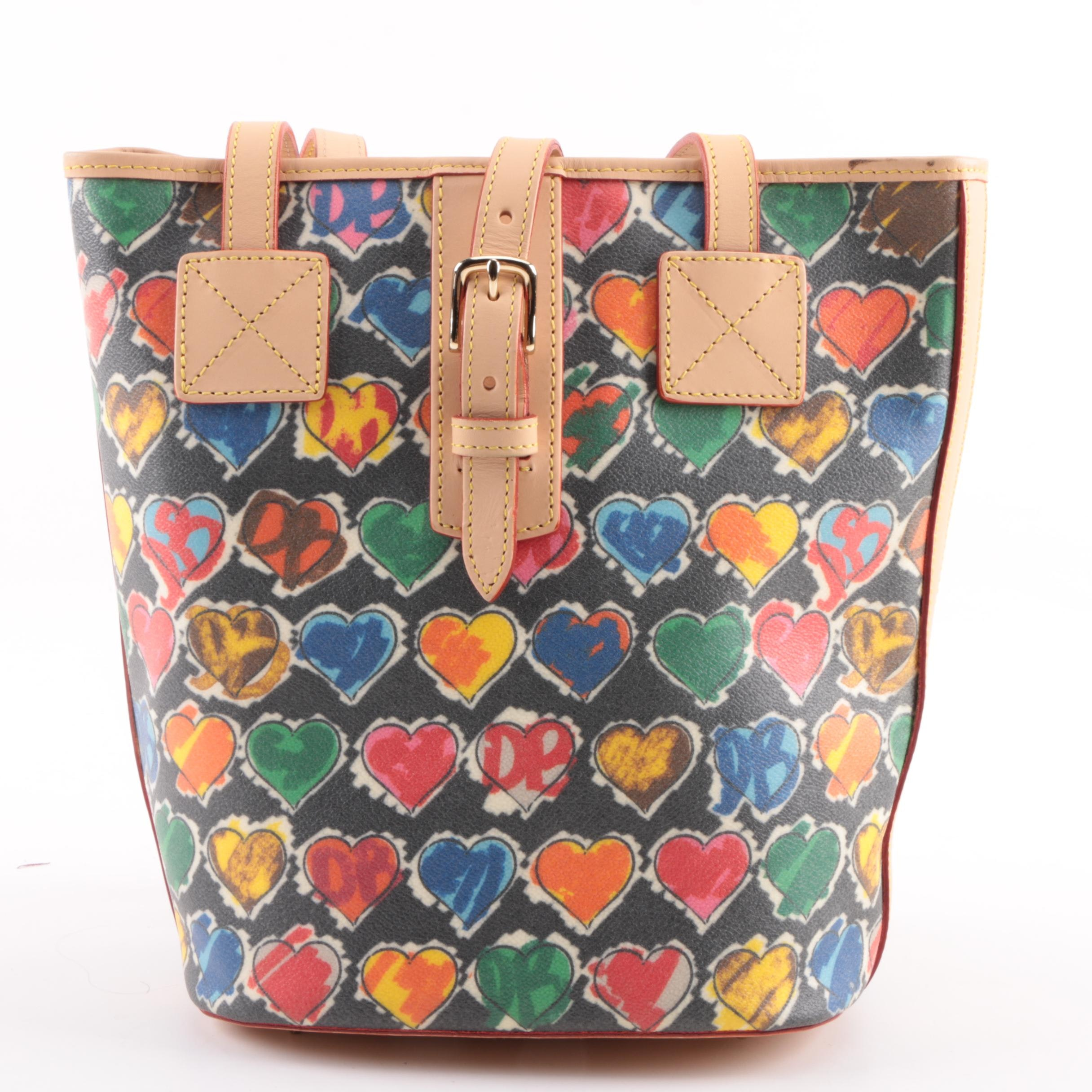 Dooney & Bourke Signature Heart Coated Canvas and Leather Bucket Bag