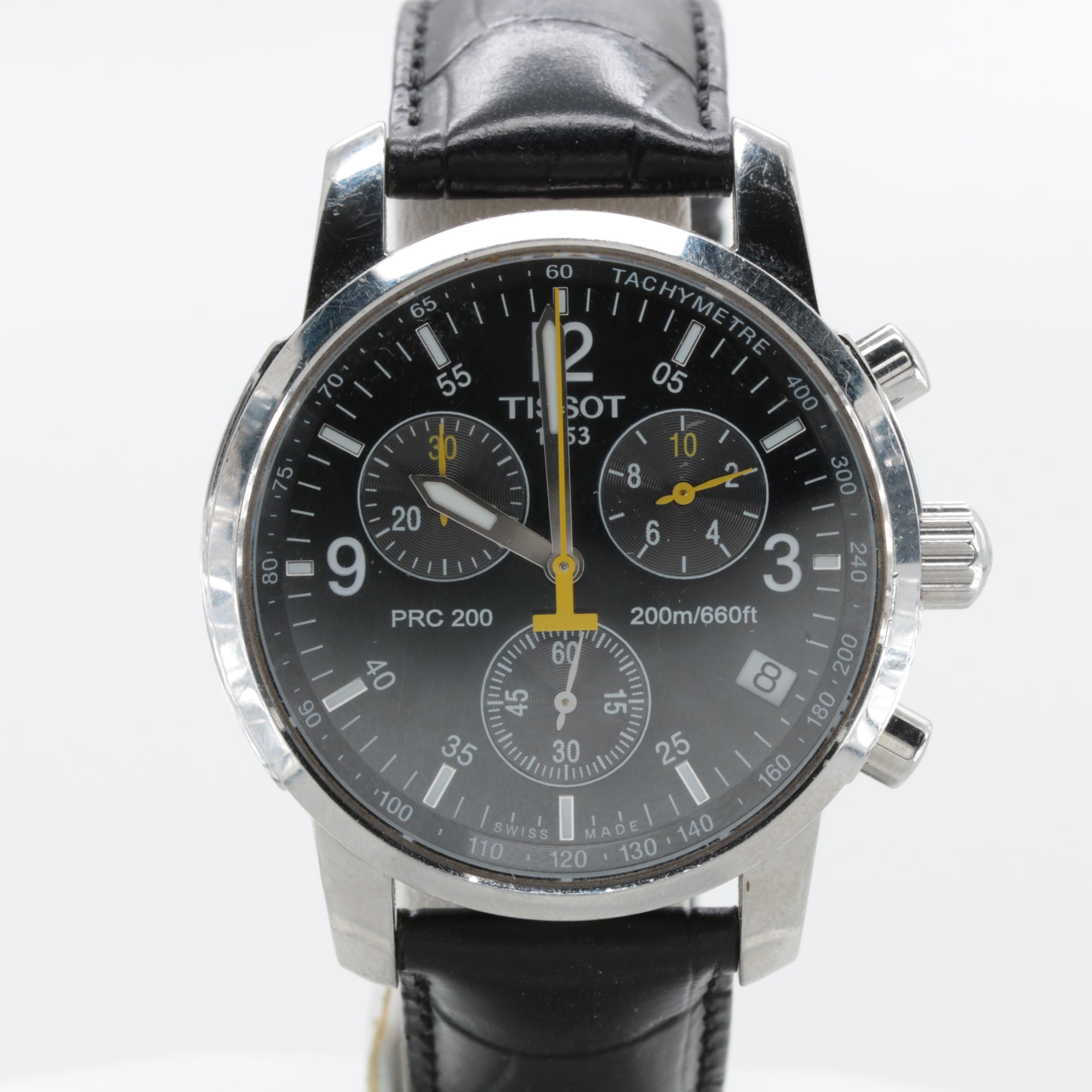 Tissot Stainless Steel Black Dial Wristwatch with Leather Strap
