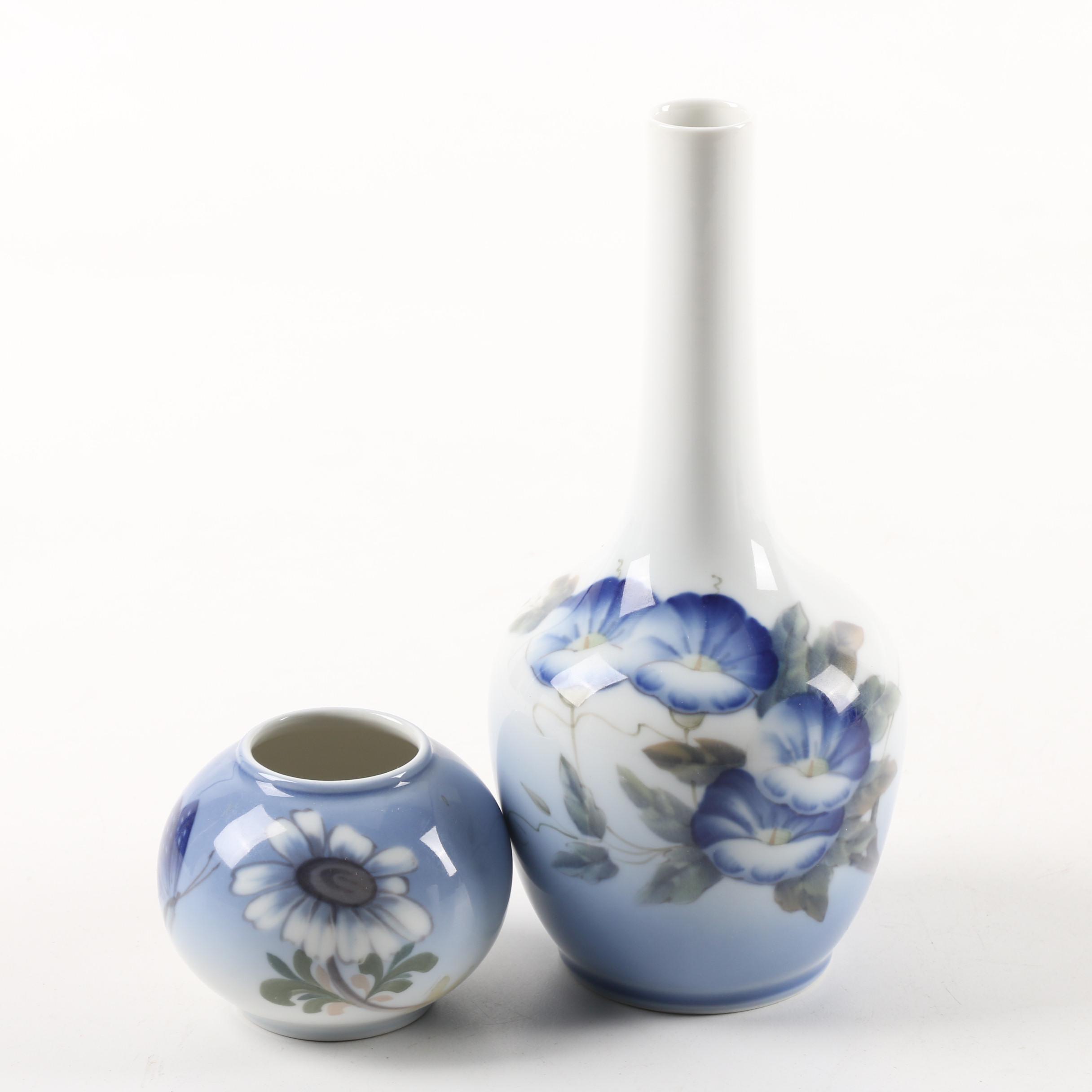 Royal Copenhagen Hand-Painted Floral Themed Porcelain Vases