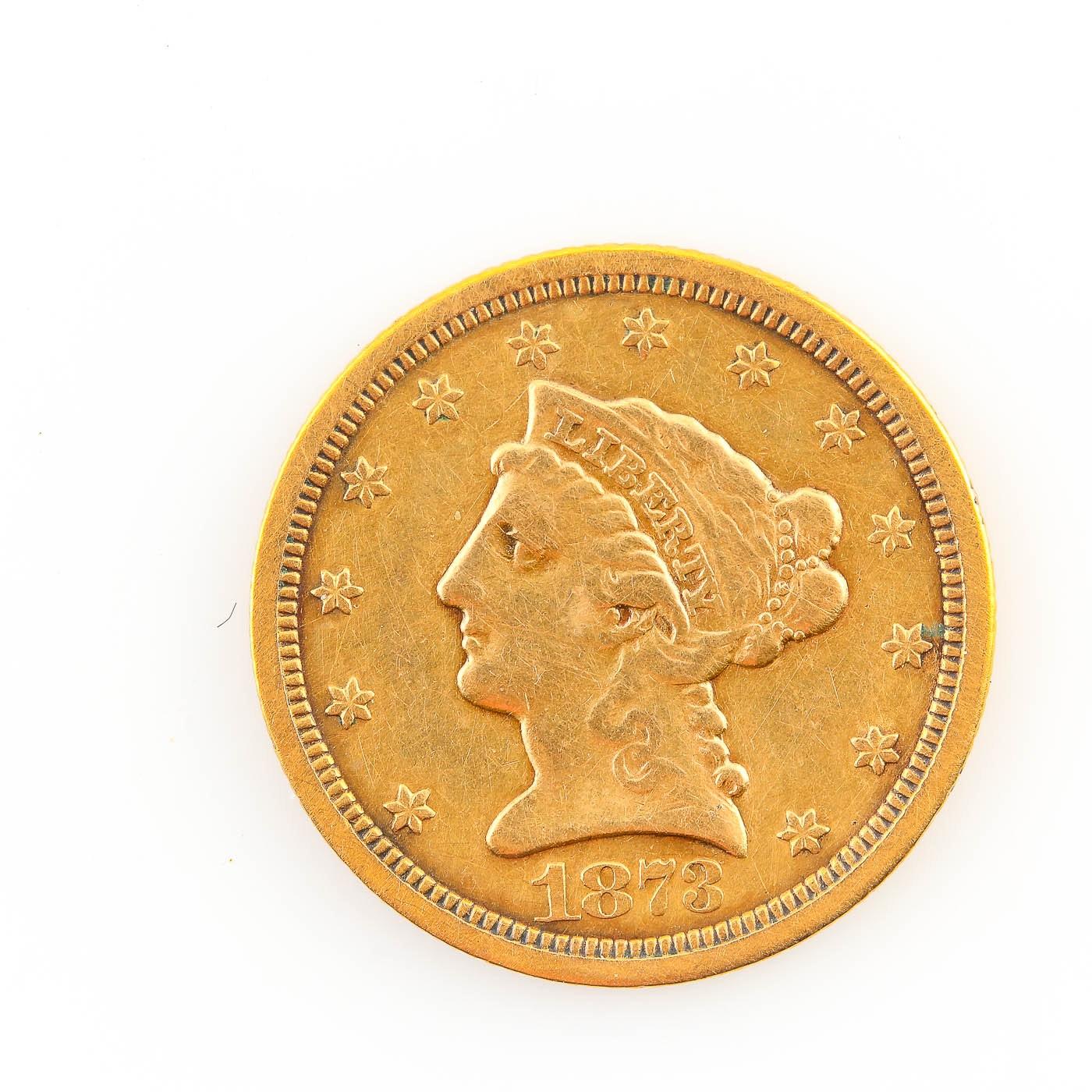 1873-S Liberty Head $2.50 Gold Quarter Eagle