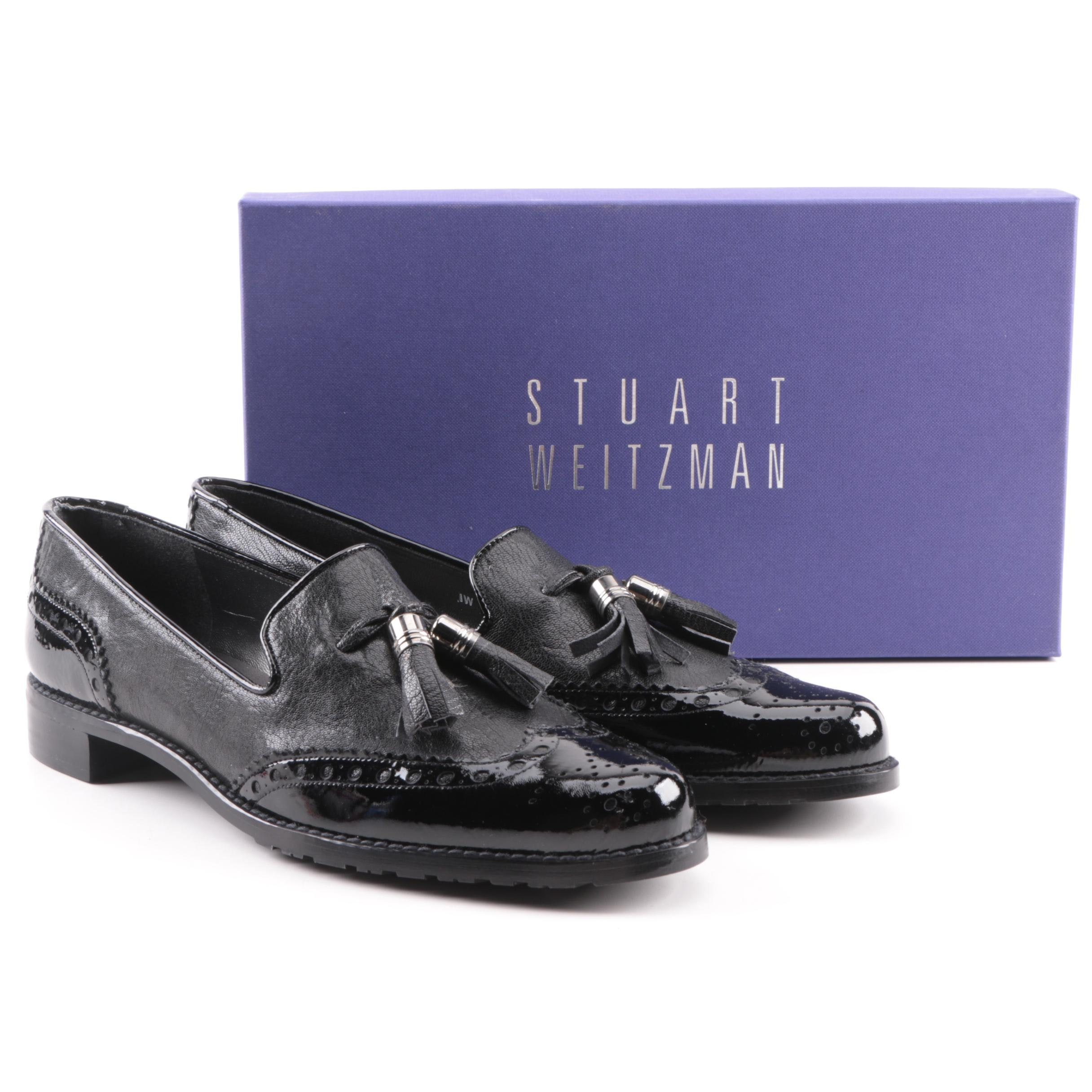 Women's Stuart Weitzman Guything Black Leather Loafers with Tassels