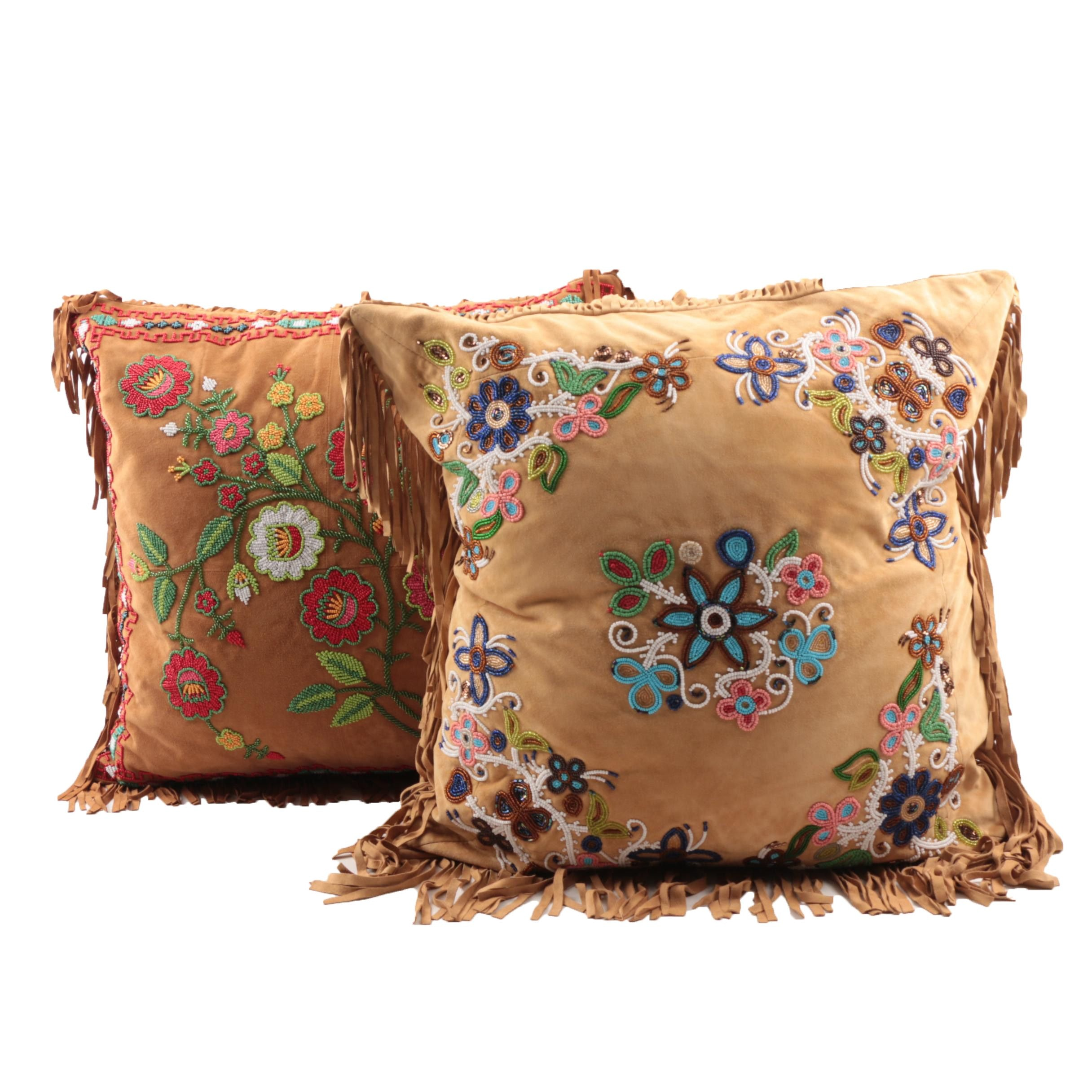Double D Ranch and Tasha Polizzi Bead Embroidered Leather Accent Pillows