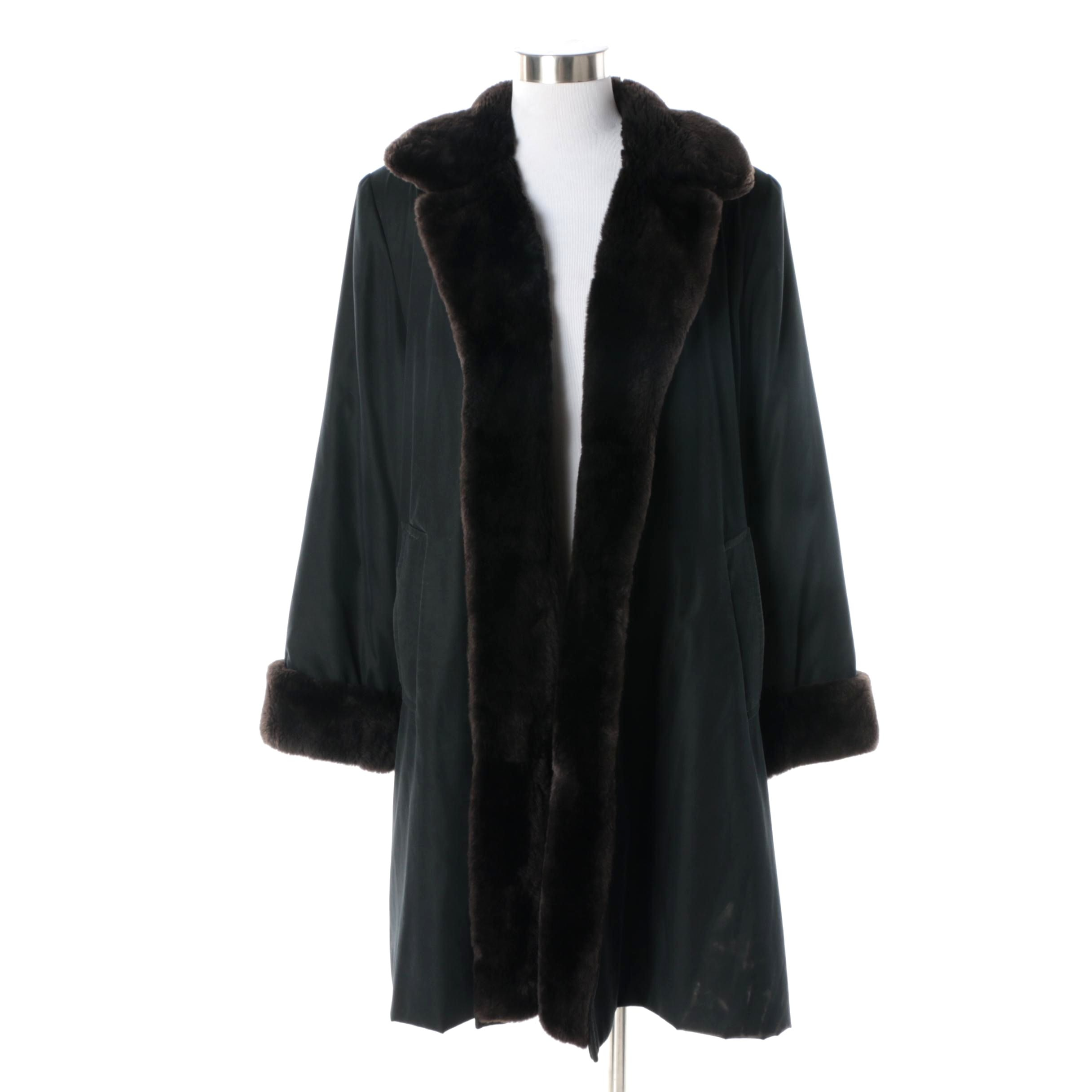 Women's Vintage Black Poly-Blend Coat with Sheared Beaver Fur Lining