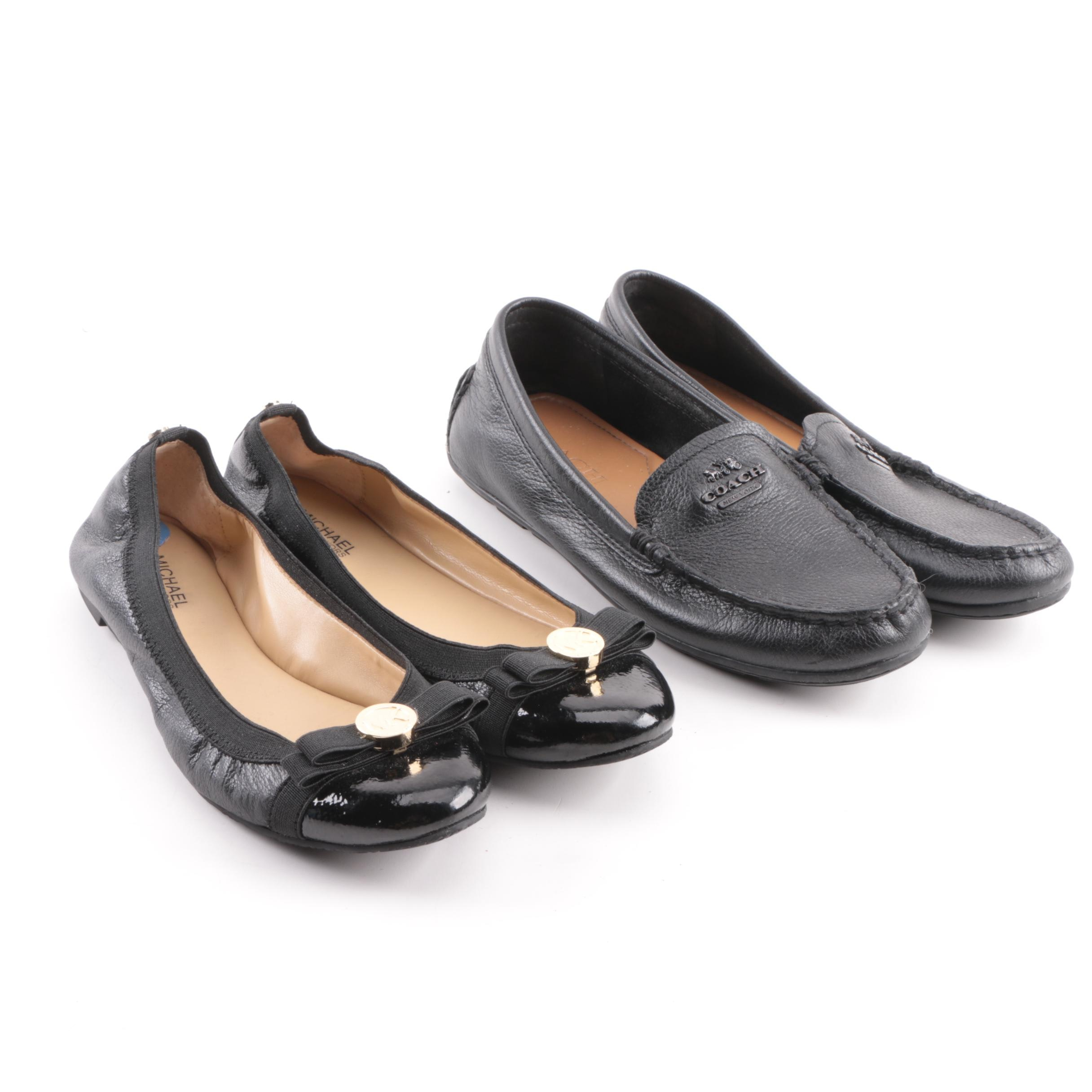Women's Coach Black Leather Loafers and MICHAEL Michael Kors Black Leather Flats