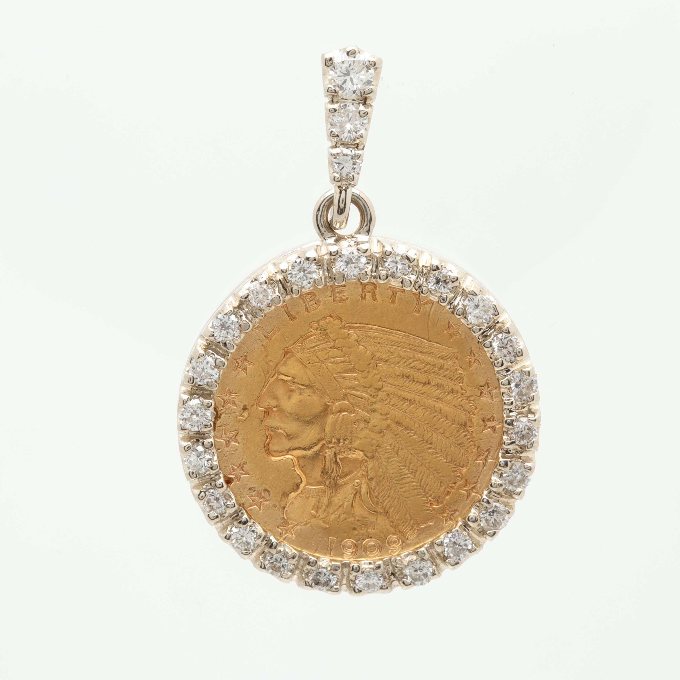14K Yellow Gold Diamond Pendant with 1909 Indian Head $2.5 Gold Coin