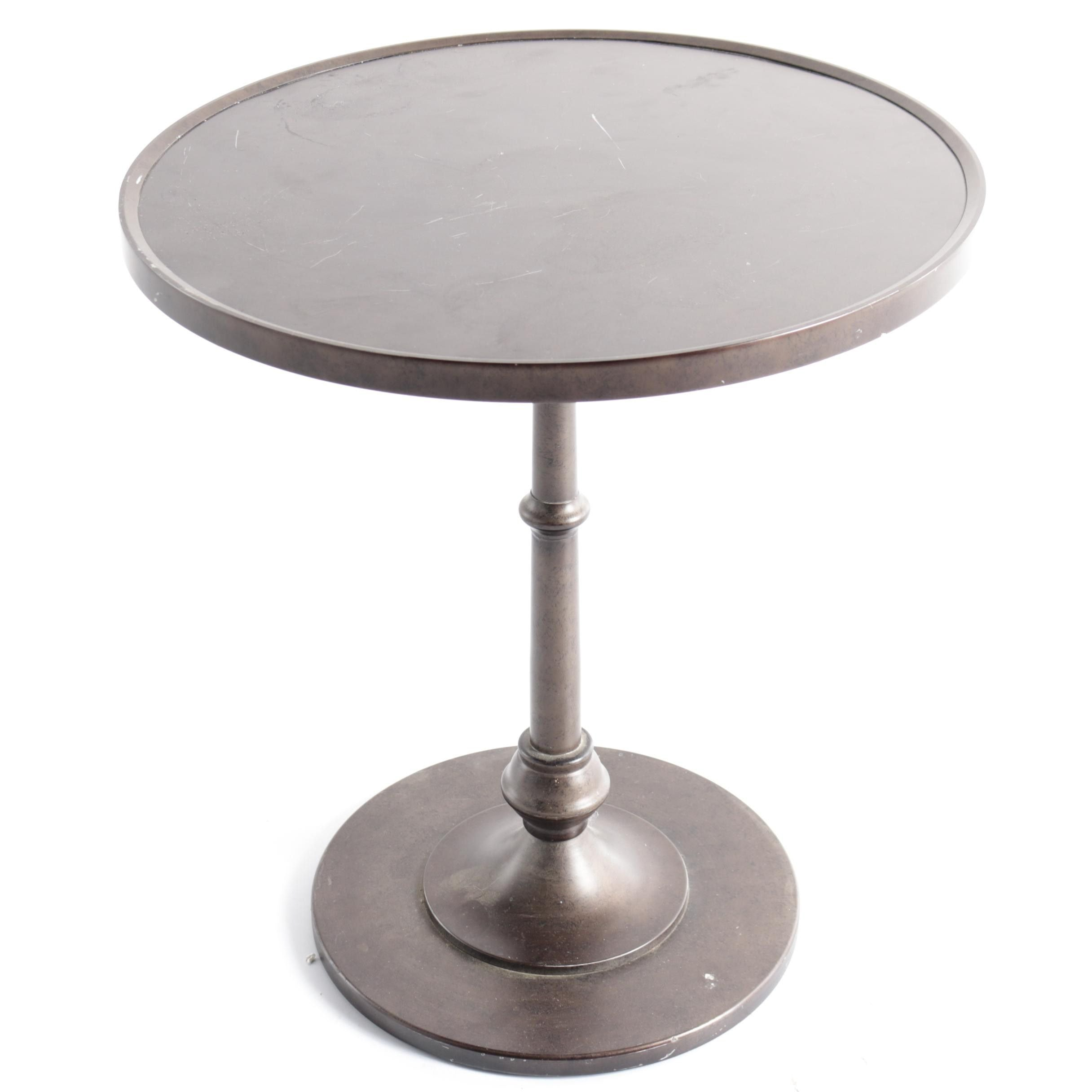 Metal Round Top Pedestal Accent Table