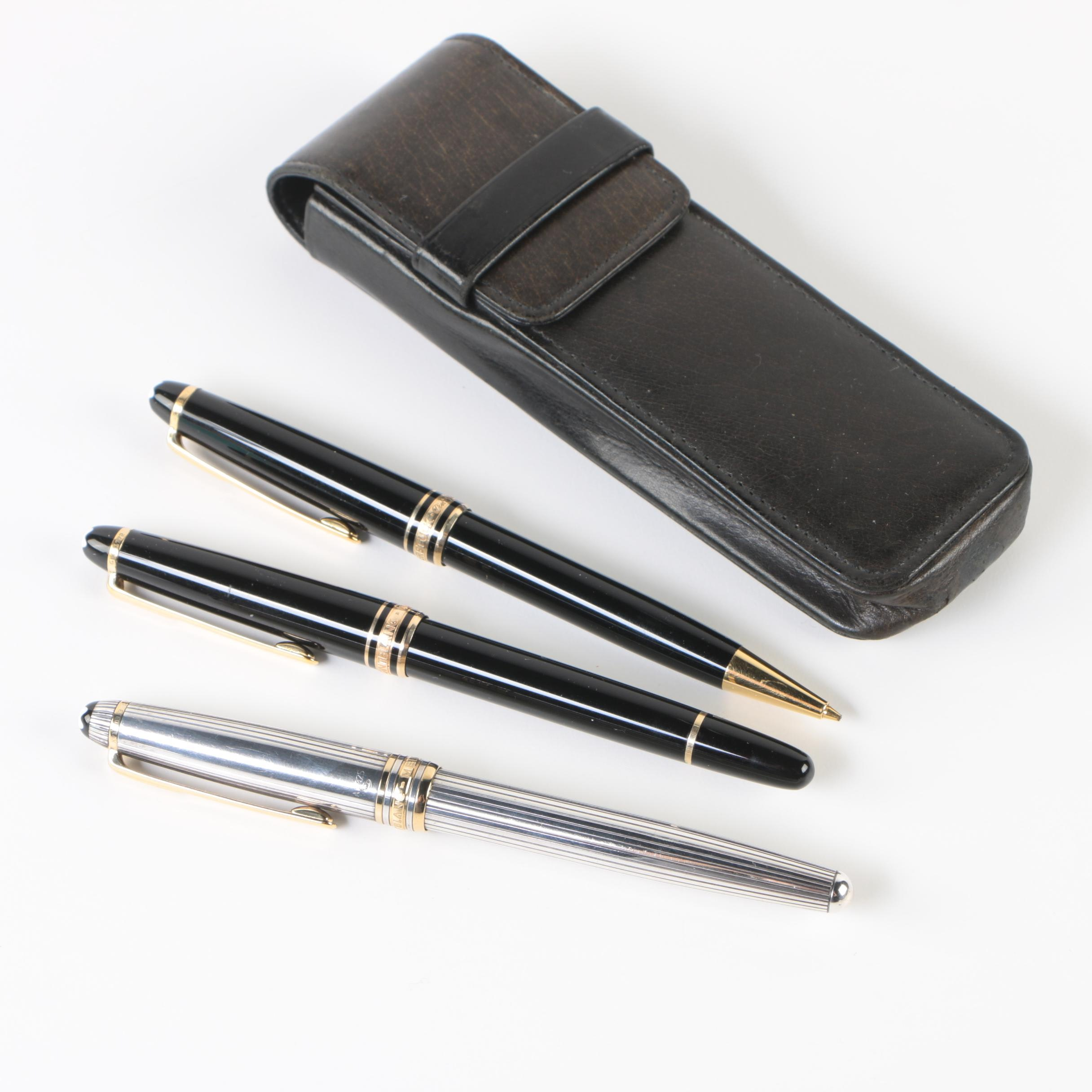 Montblanc Meisterstück Ballpoint Pens featuring Sterling Silver and Coach Case