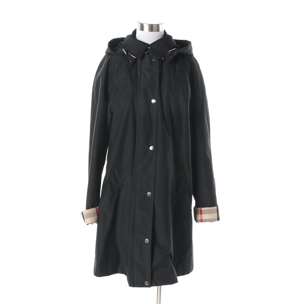 Women's Burberry Brit Black Poly-Blend Raincoat with Detachable Hood