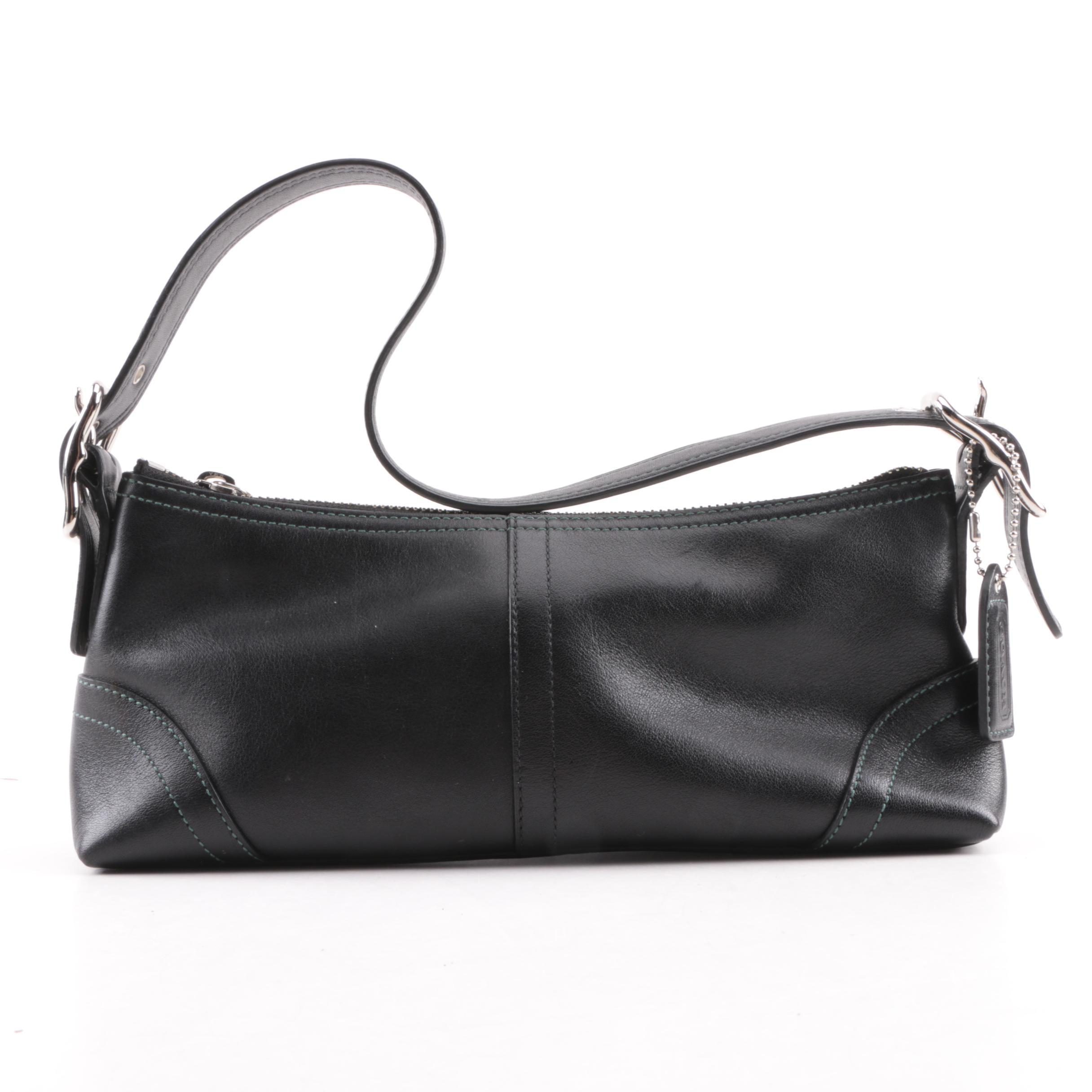 Coach East West Hampton Black Leather Demi Handbag