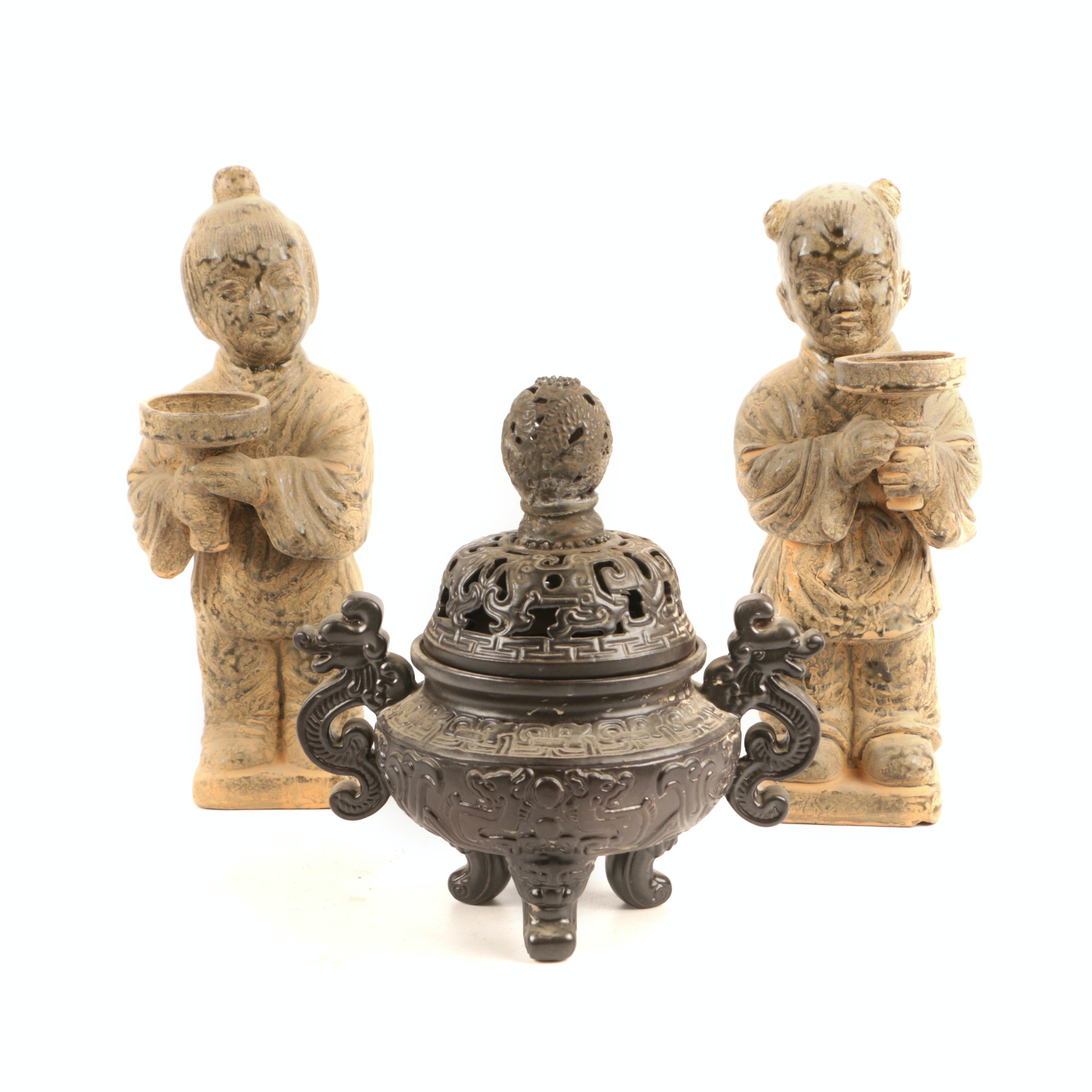 Chinese Reticulated Ceramic Censer with Dragon Motifs and Figurines