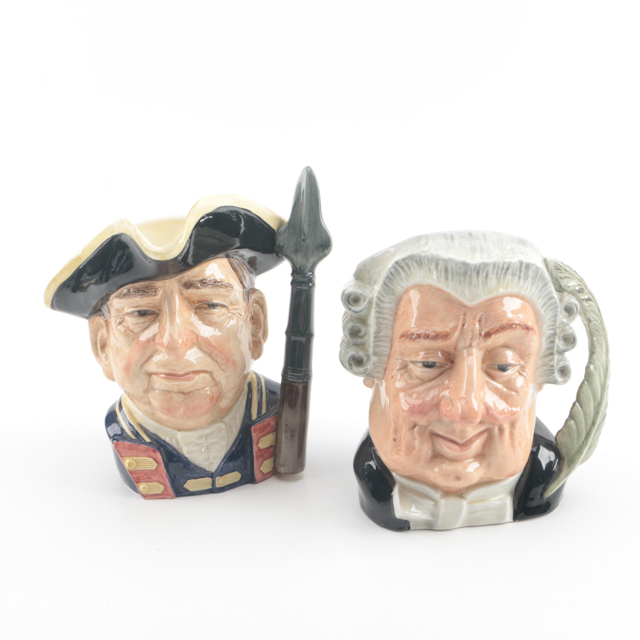"""Vintage Royal Doulton """"The Lawyer"""" and """"Guardsman"""" Character Jugs"""