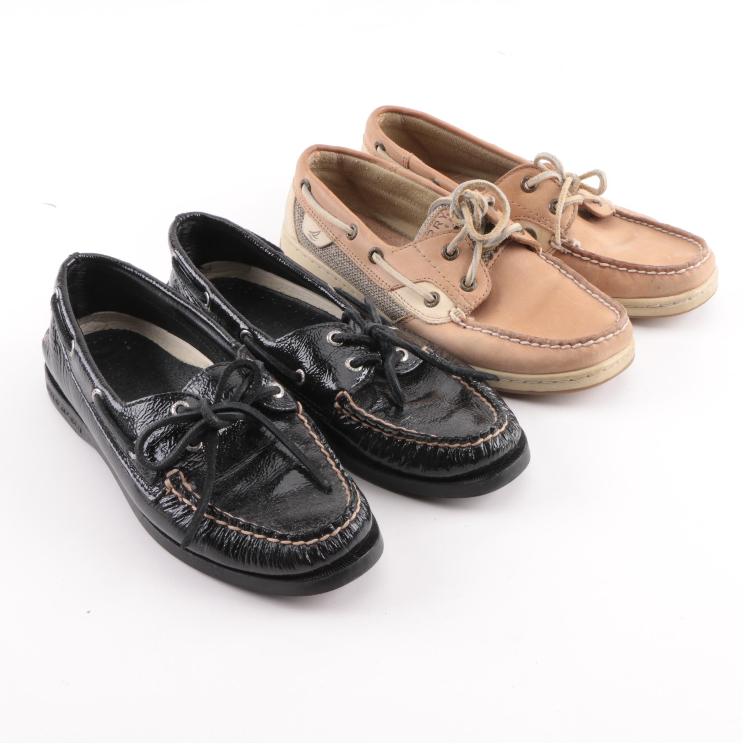 Women's Sperry Top-Sider Black Patent Leather and Beige Leather Boat Shoes