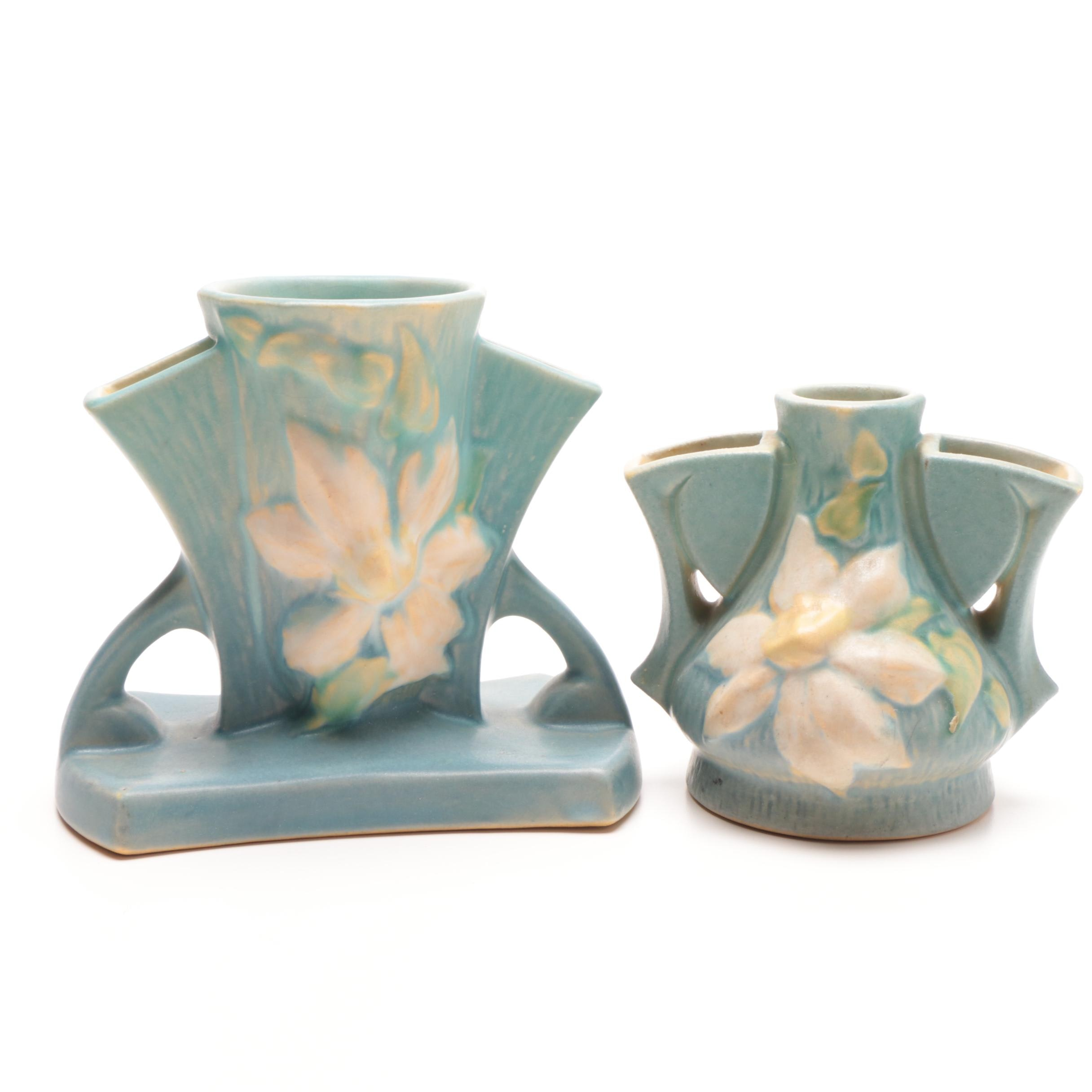 """Roseville Pottery """"Clematis"""" Vases"""