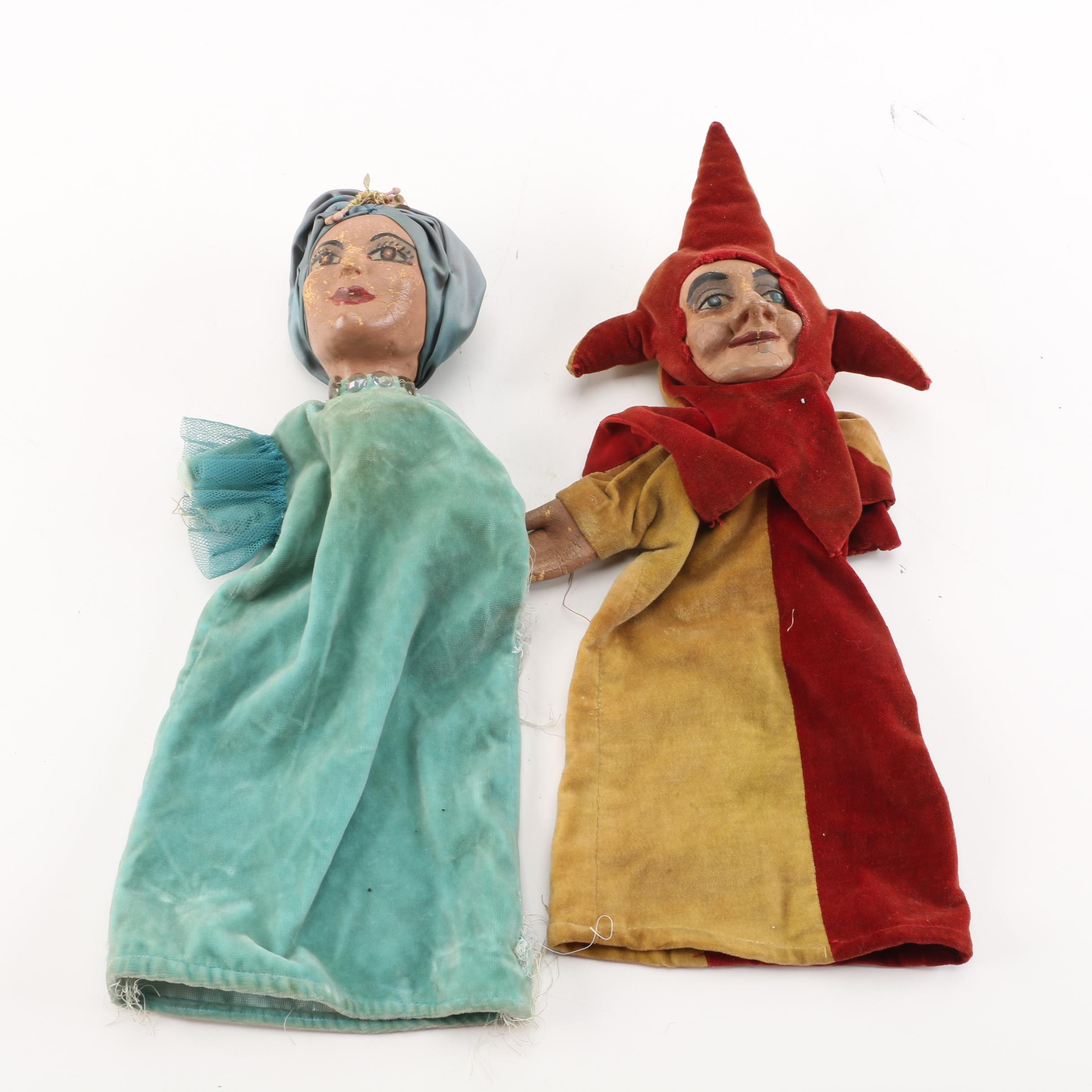 Mid-Century Hand-Painted Rubber Hand Puppets