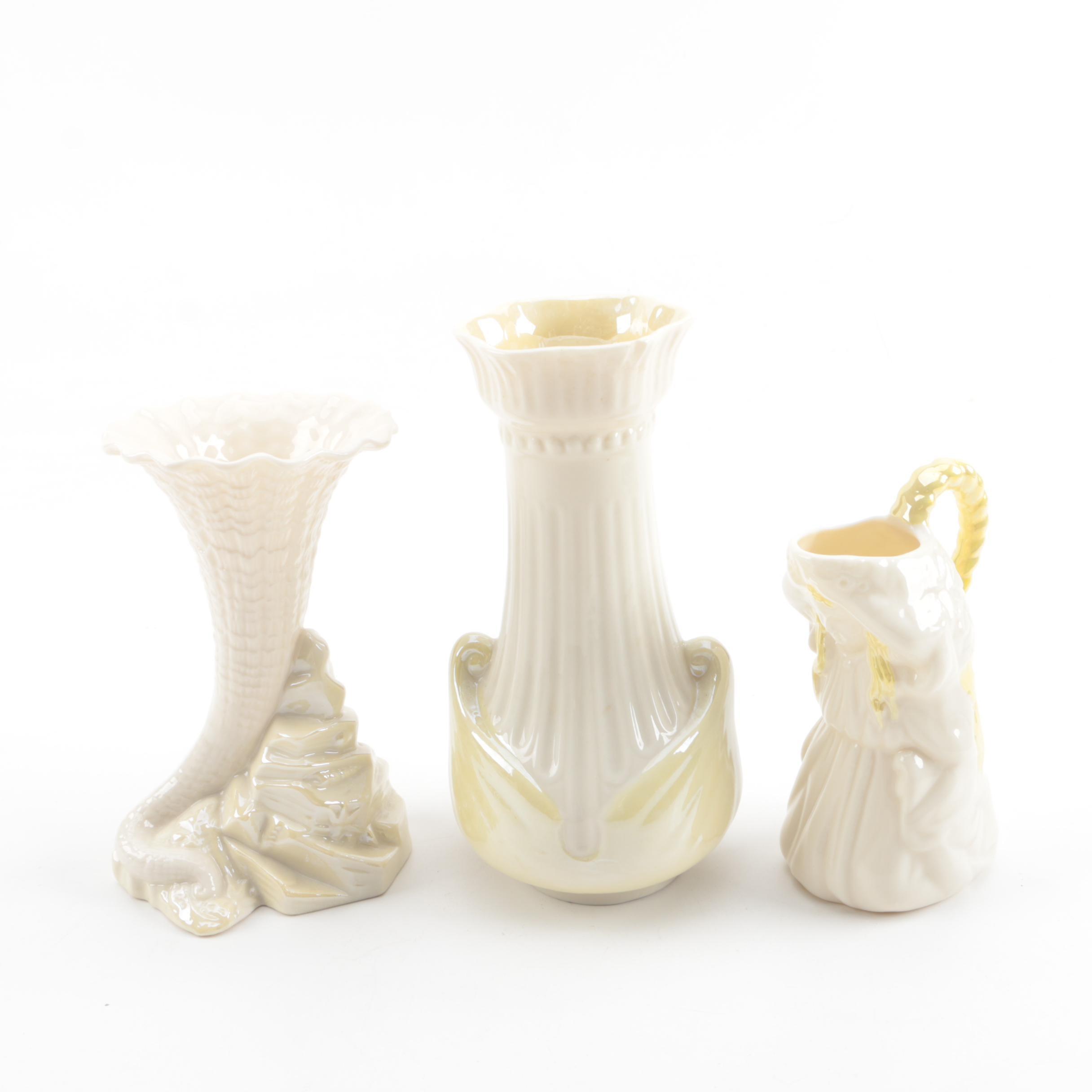 "Belleek Porcelain ""Undine"" Creamer, ""Moore"" Vase and ""Rock Spill"" Vase"