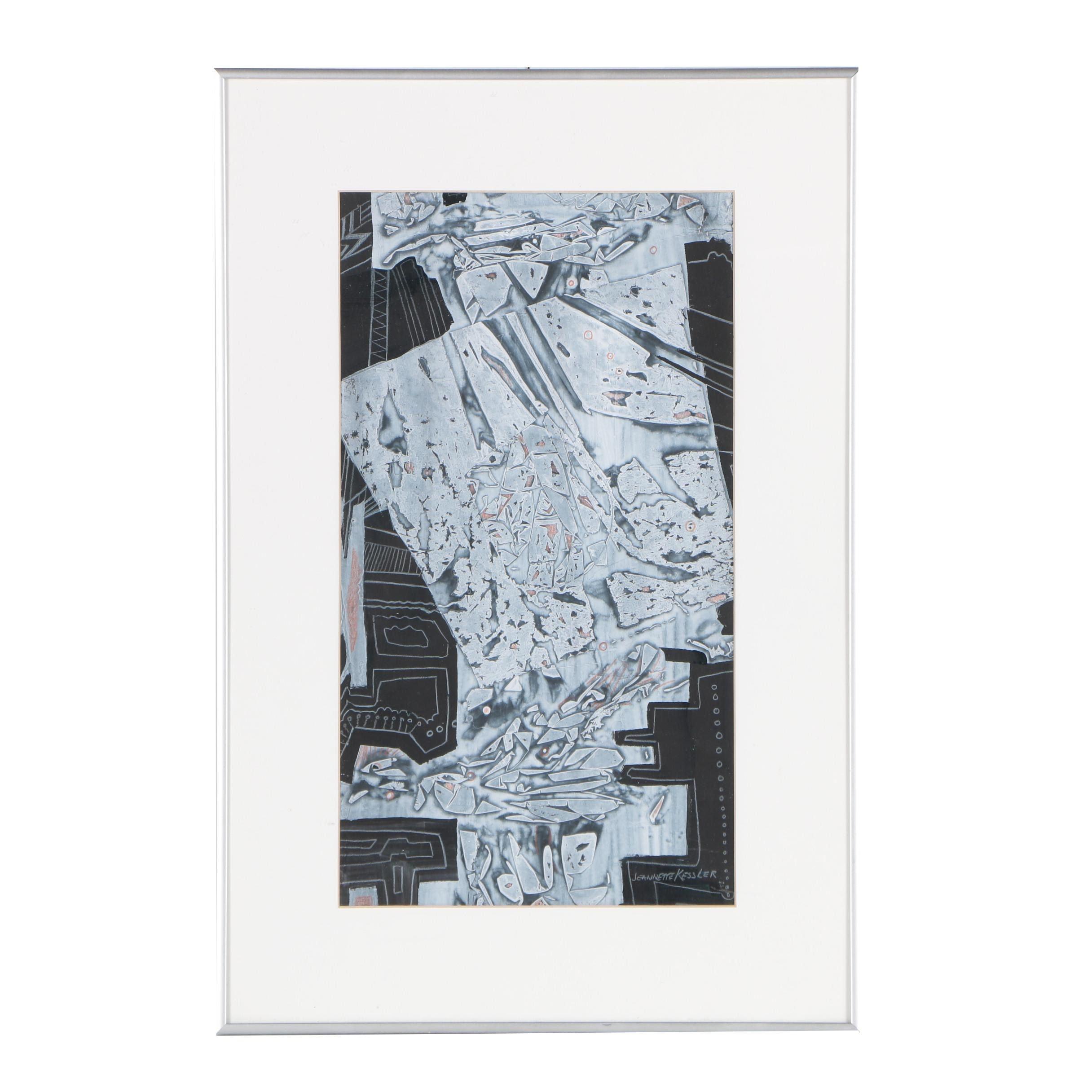 "Jeannette G. Kessler Embellished Monotype ""Breaking Away"""