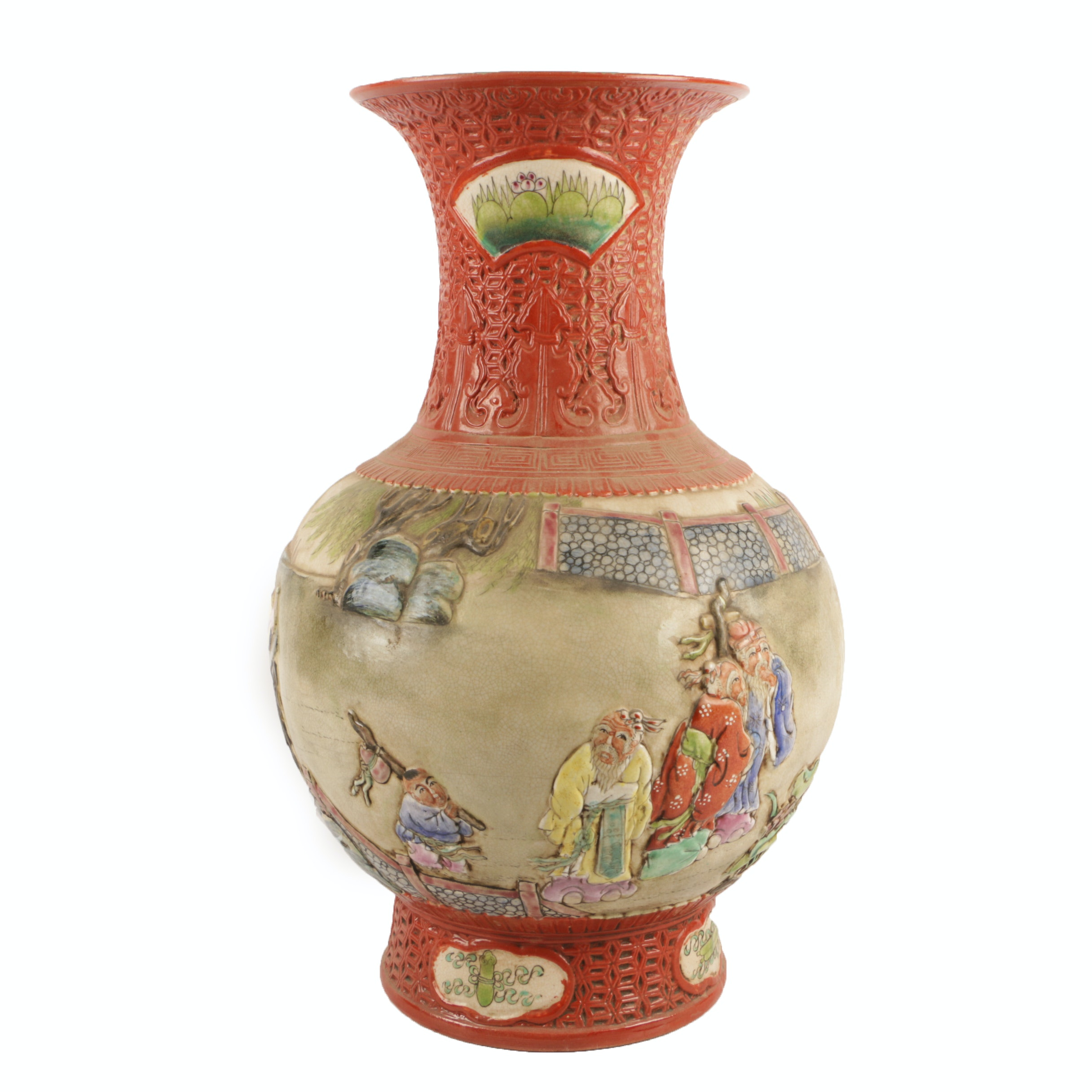 Chinese Hand-Painted Embossed Ceramic Vase with a Figural Scene
