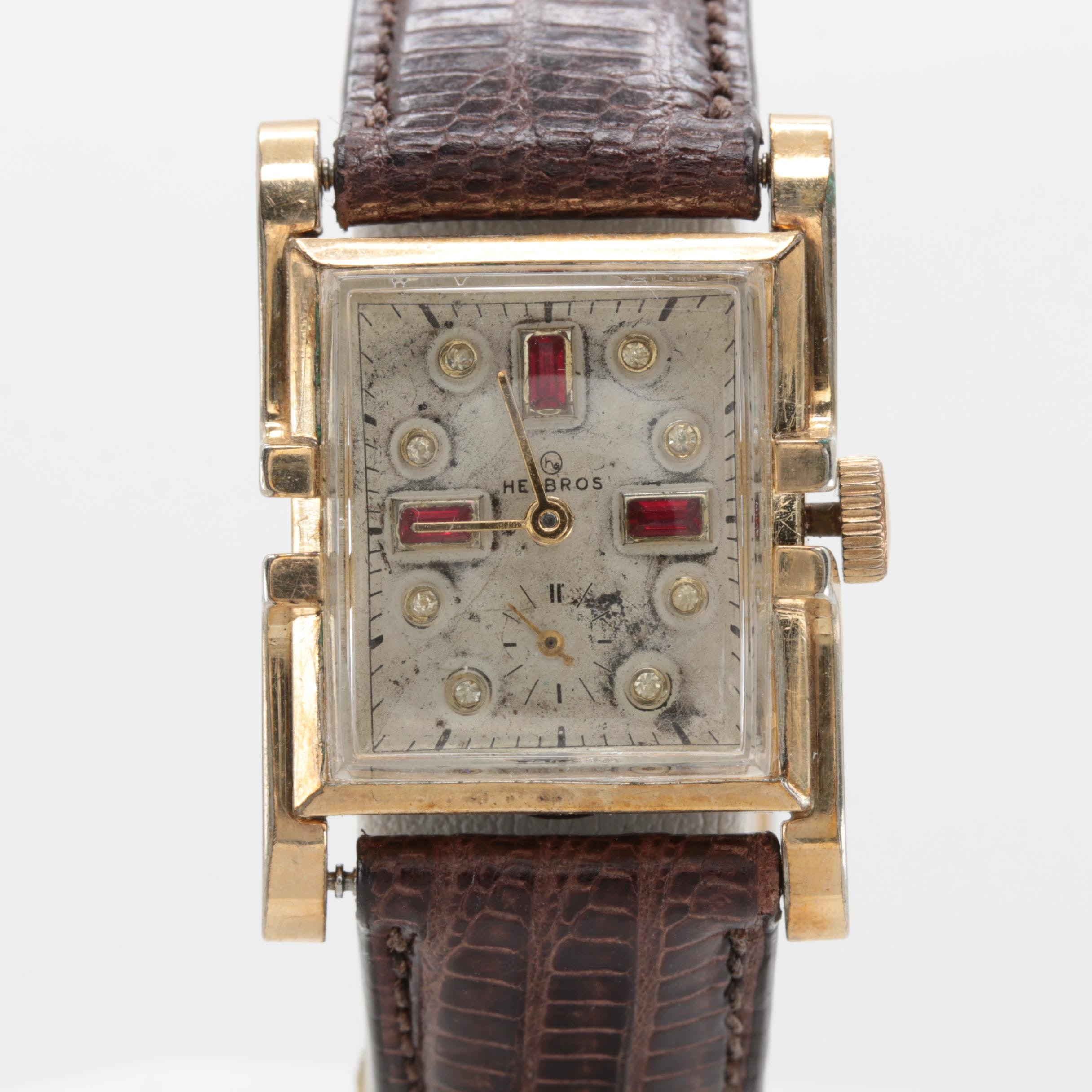 Helbros Gold Plated Glass Crystal Wristwatch