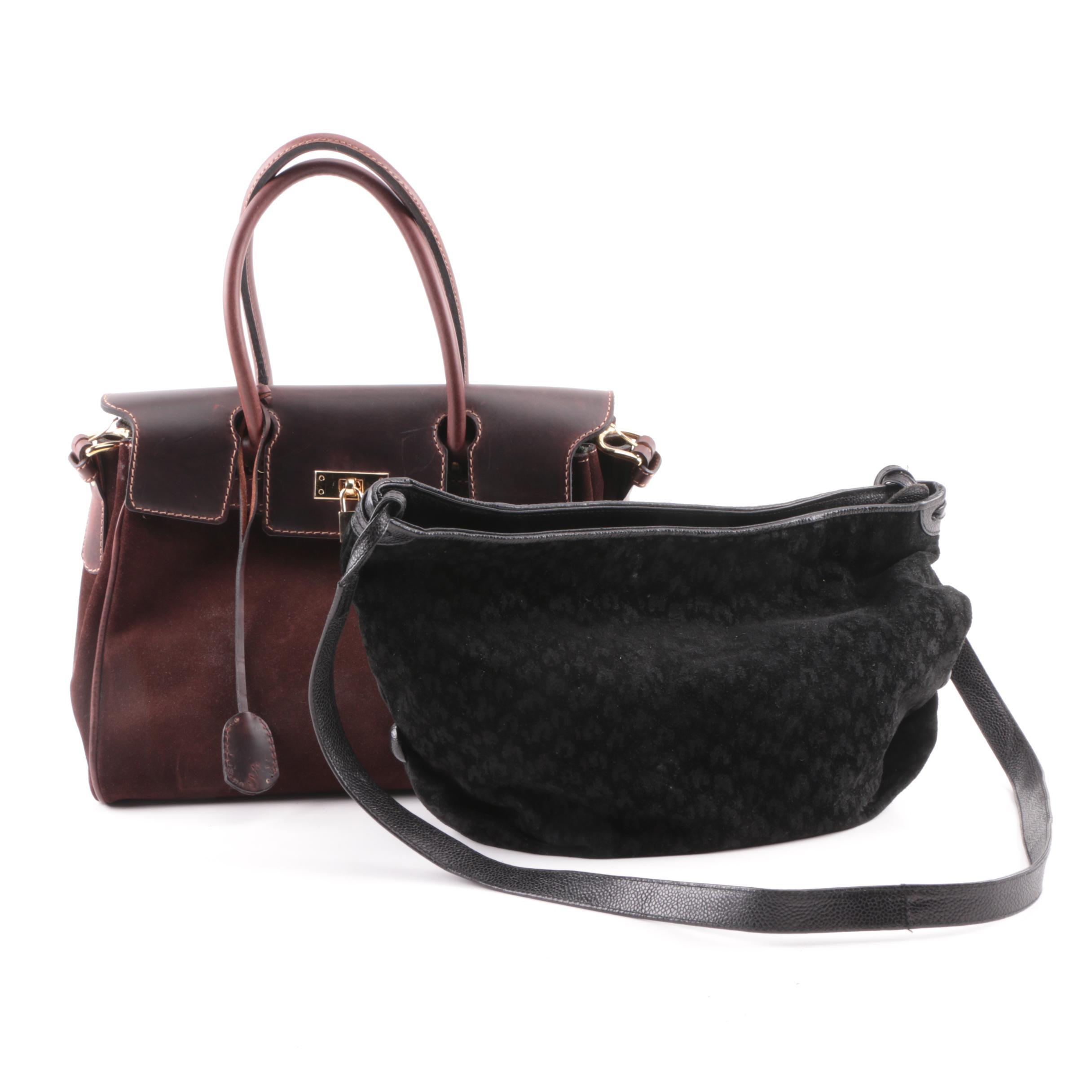 Susan Gail Black Suede Hobo Bag and Marie Antoniette Brown Suede Handbag