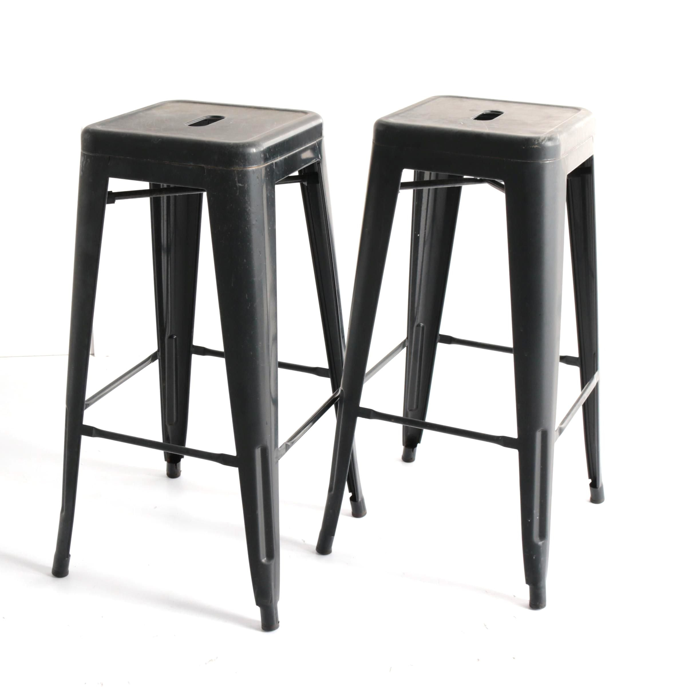 Industrial Style Metal Counter Stool Pair