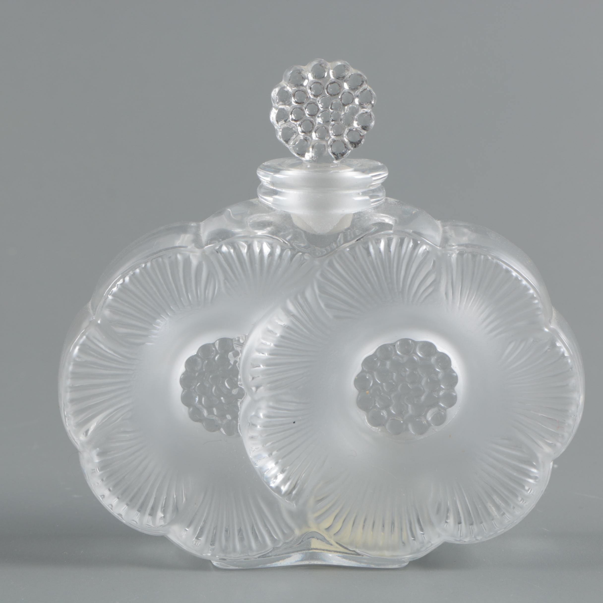 "Lalique ""Deux Fleurs"" Frosted Crystal Perfume Bottle"