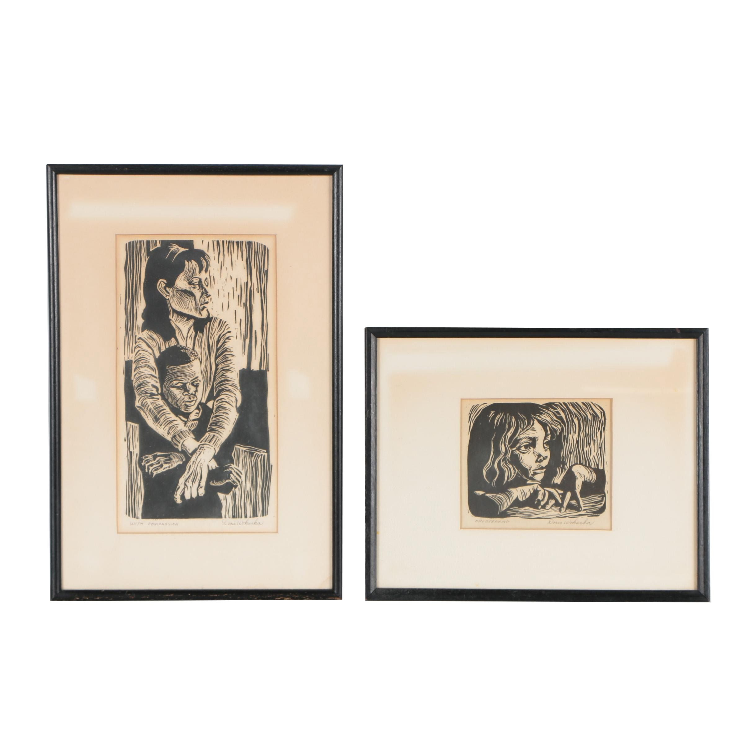 """Doris Wokurka Linocut Prints """"Day Dreaming"""" and """"With Compassion"""""""