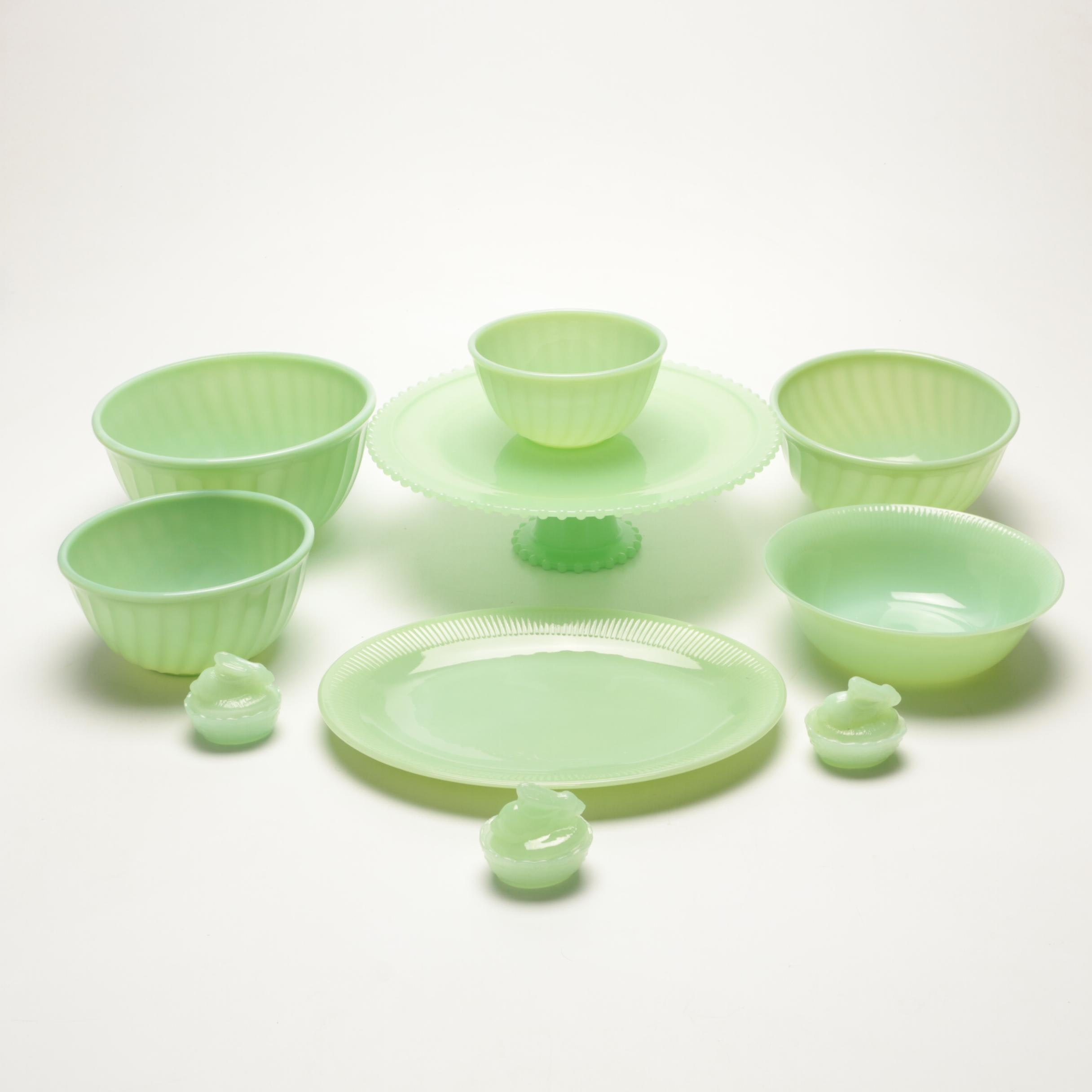 Vintage Green Glass Tableware and Serveware Featuring Fire King