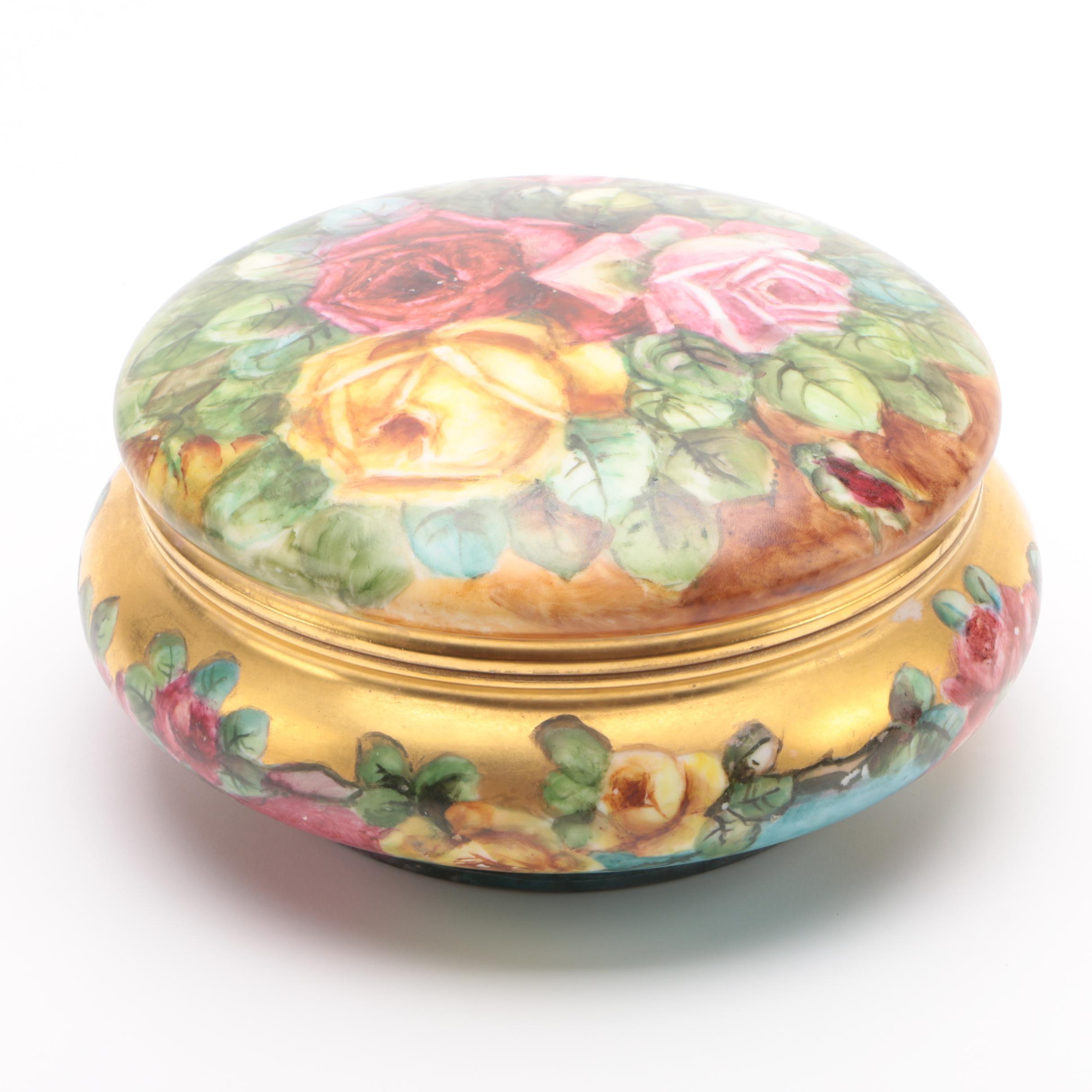 Vintage Limoges France Porcelain Trinket Box with Floral Motif