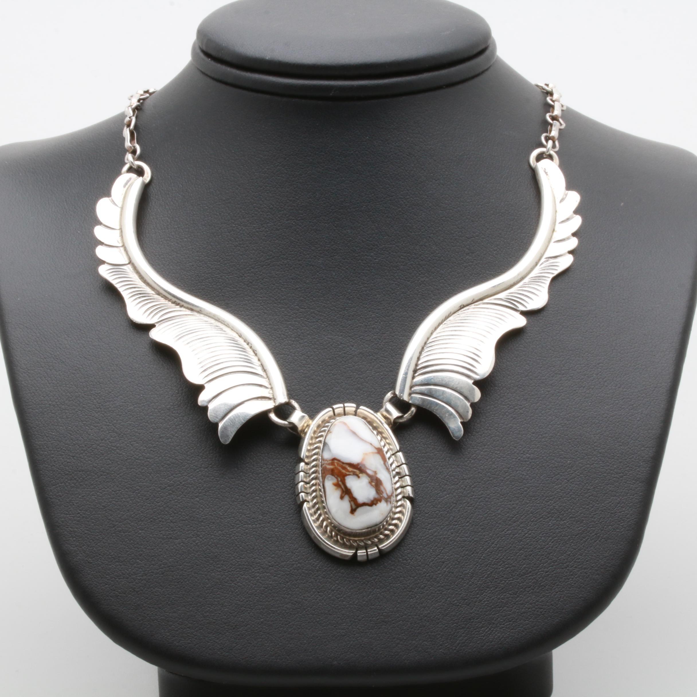 James W Toadlena Navajo Diné Sterling Silver Agate Necklace