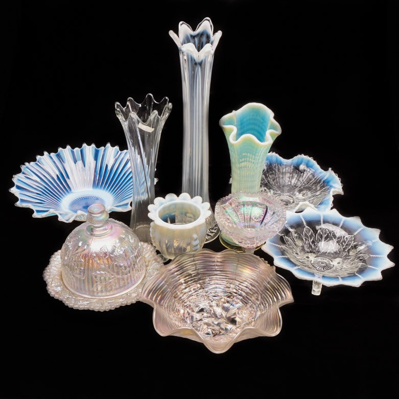 Iridescent and Opalescent Glass Swung Vases and Decor including Imperial Glass