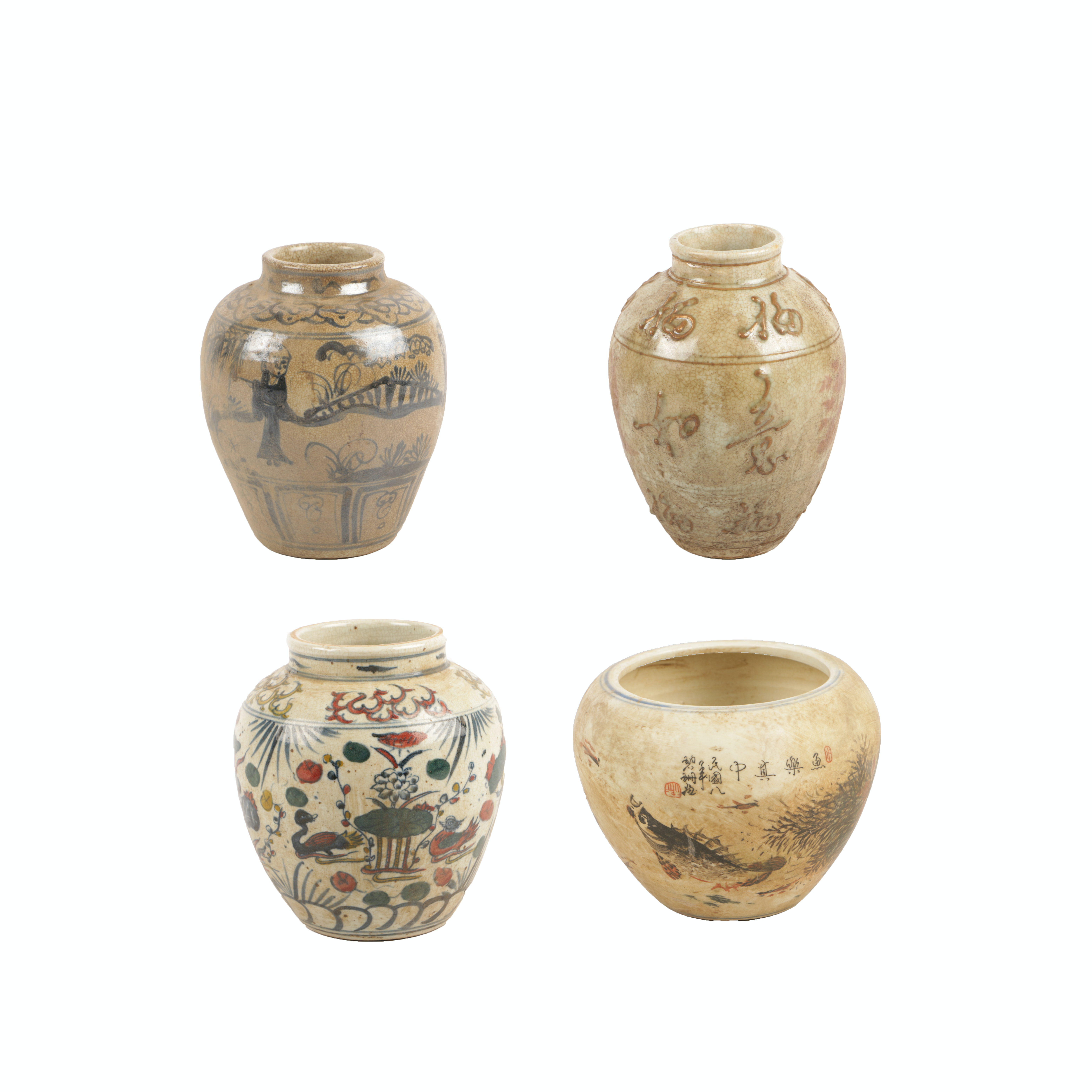 Chinese Provincial Style Hand-Painted Ceramic Vases and Planter