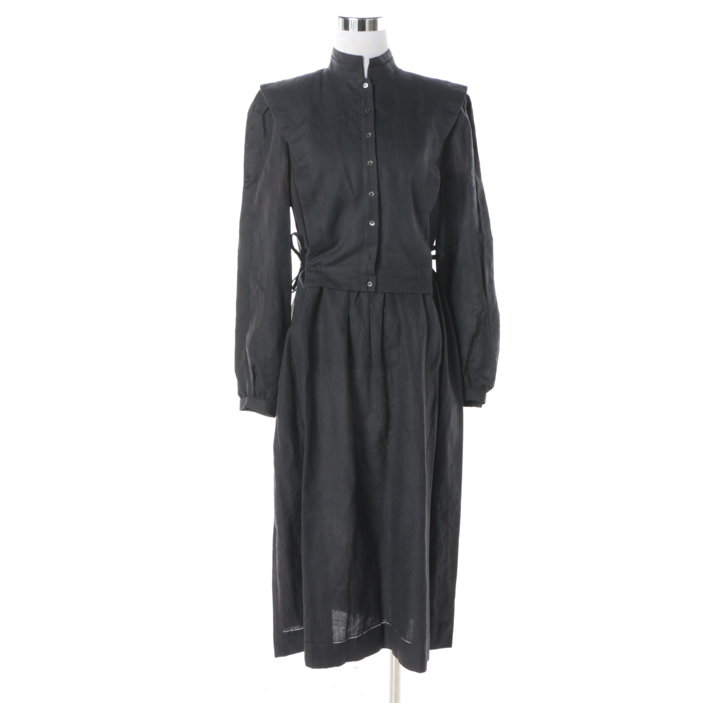 Vintage Nicole Miller Black Linen/Cotton Blend Dress