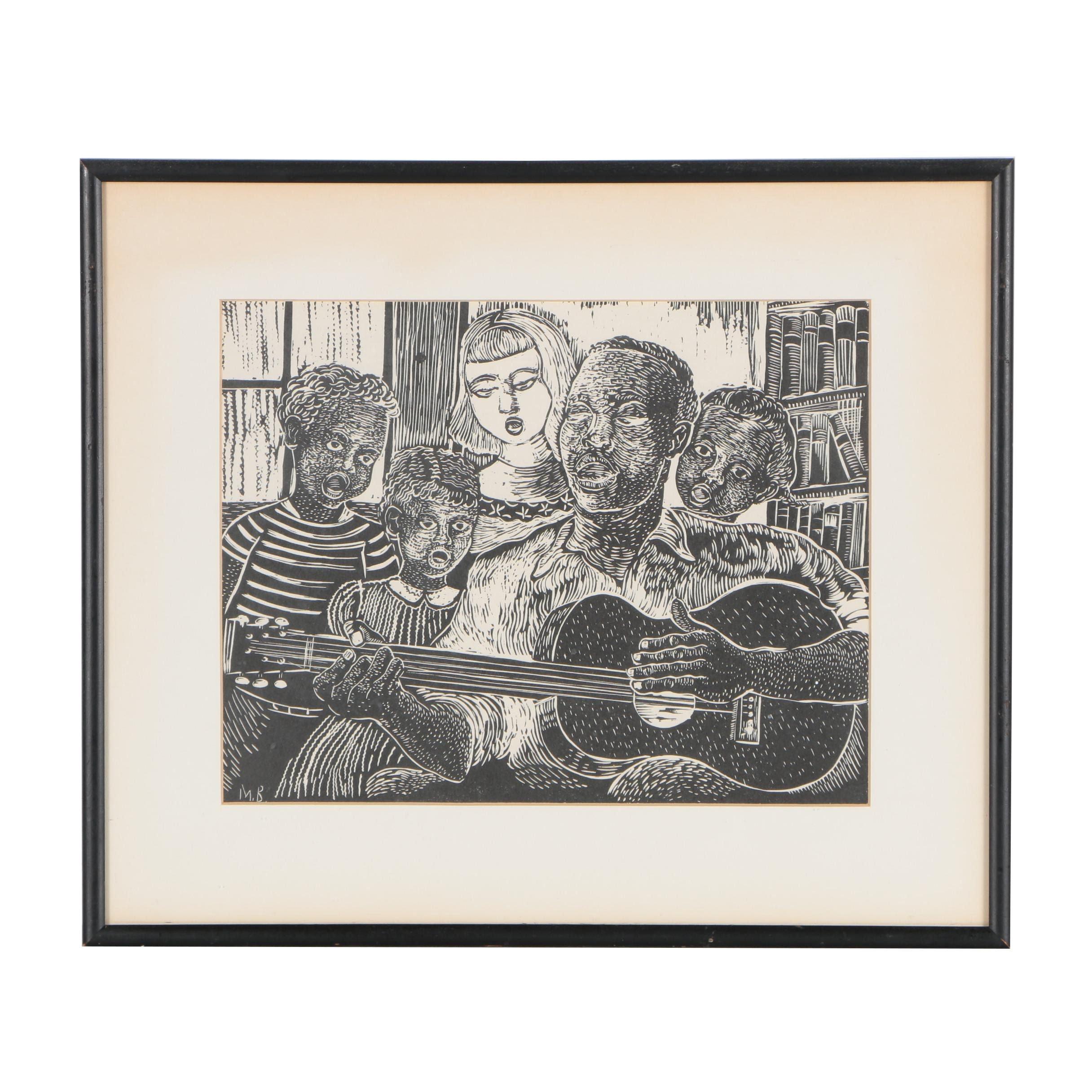 Margaret T. Burroughs Linocut ''Folk Singer''