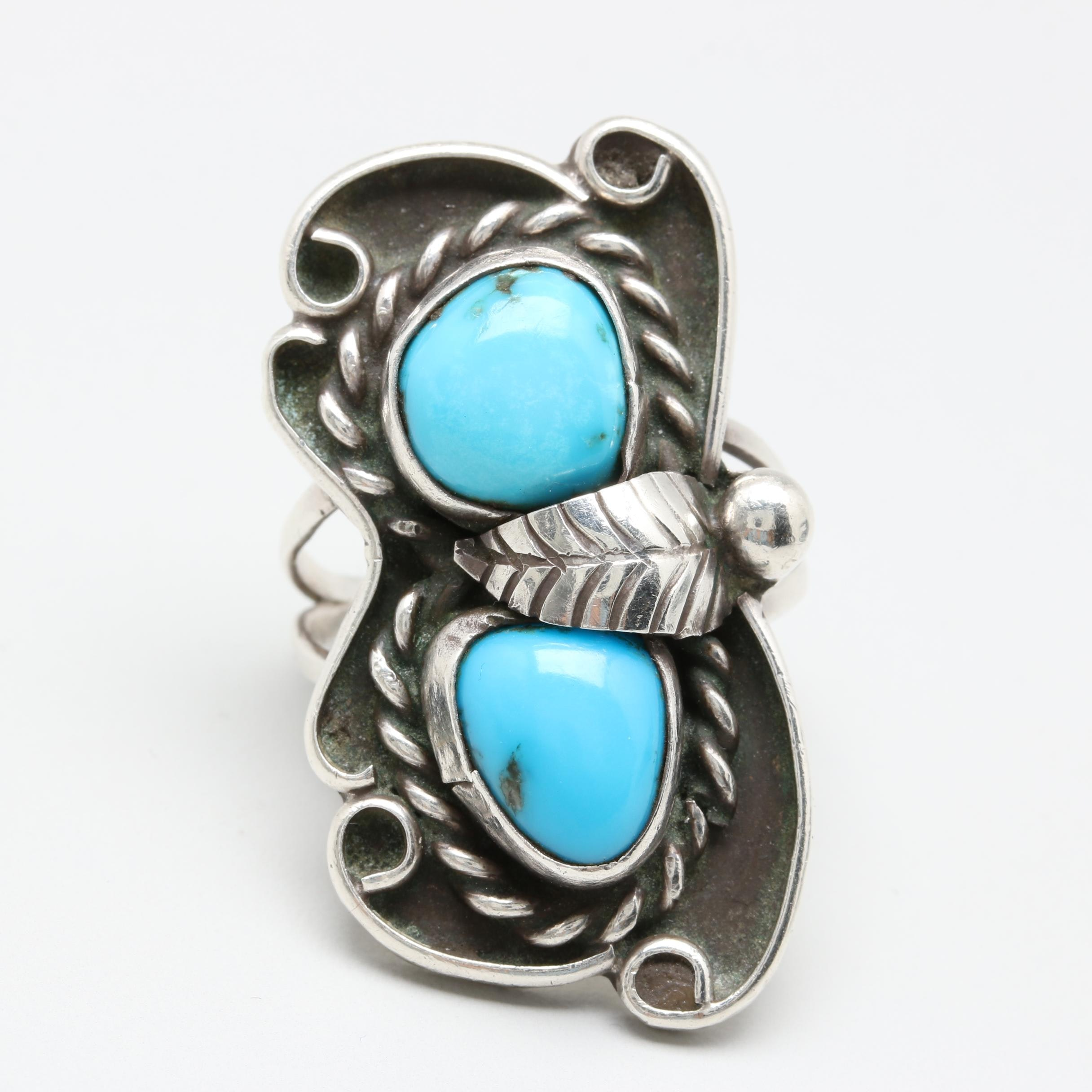 Alice M. Shirley Navajo Diné Sterling Silver Turquoise Ring