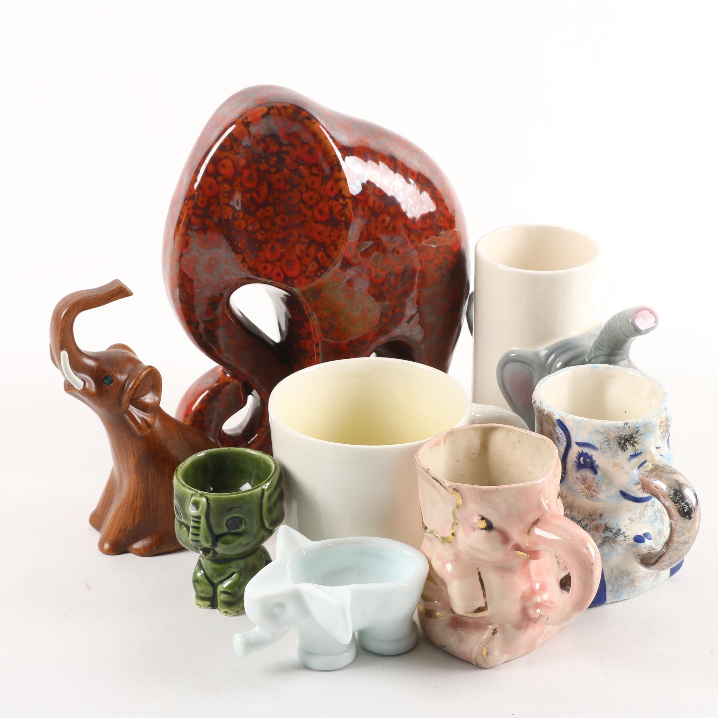 "Vintage Elephant Mugs, Dish and Figurines with Spademan ""Animug"""