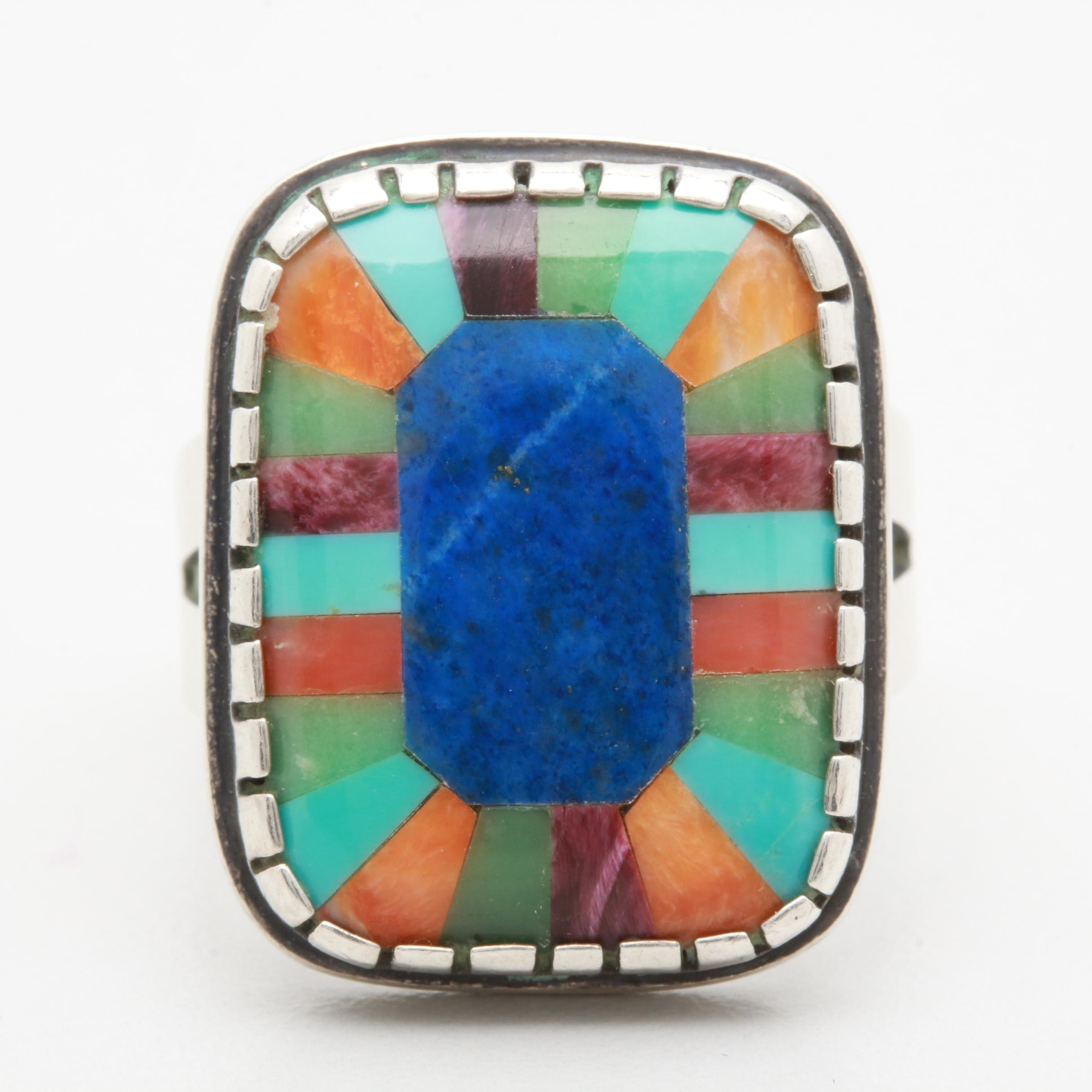 Relios by Carolyn Pollack Sterling Silver Inlay Ring Including Lapis Lazuli