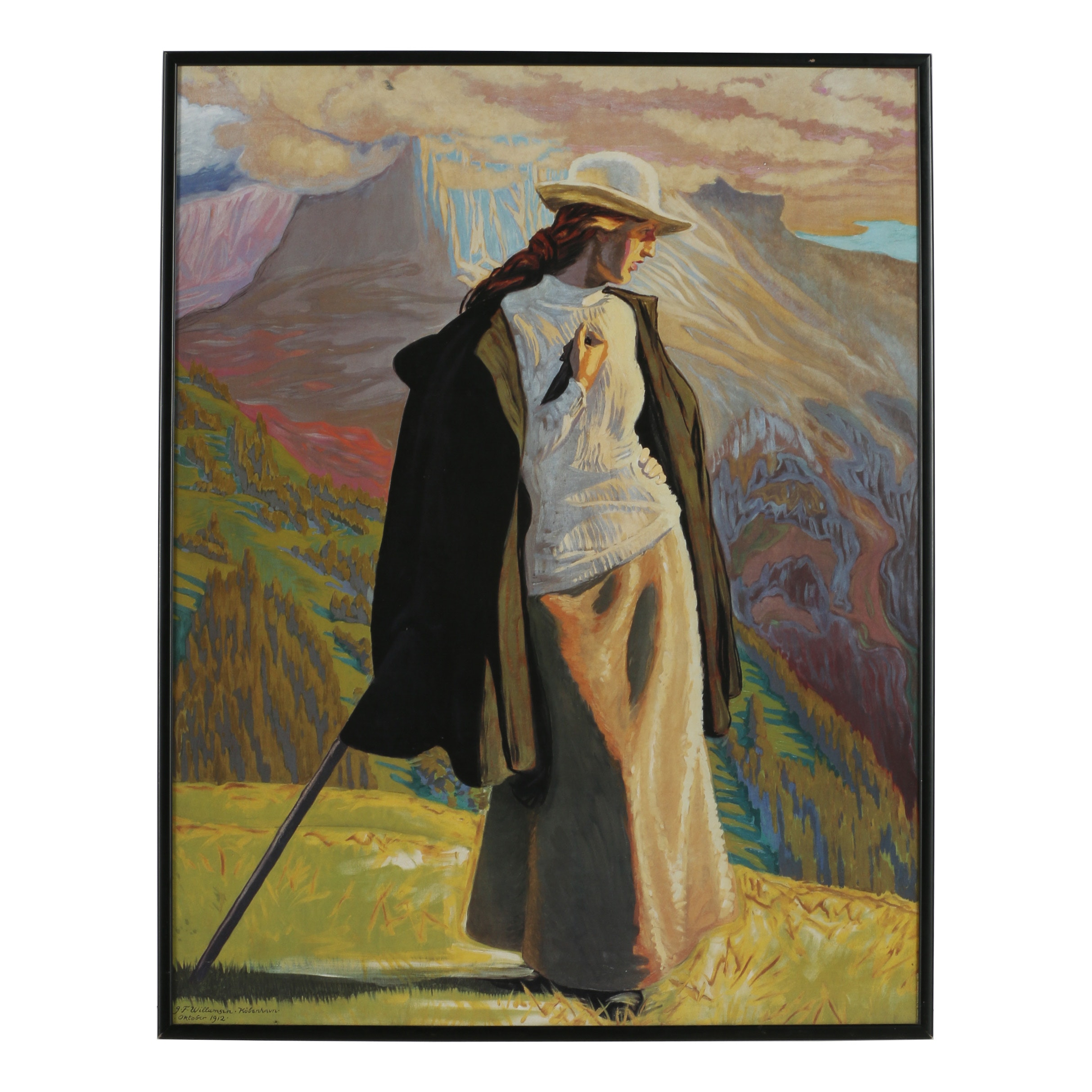 "Offset Lithograph after Jens Ferdinand Willumsen ""Mountaineer"""