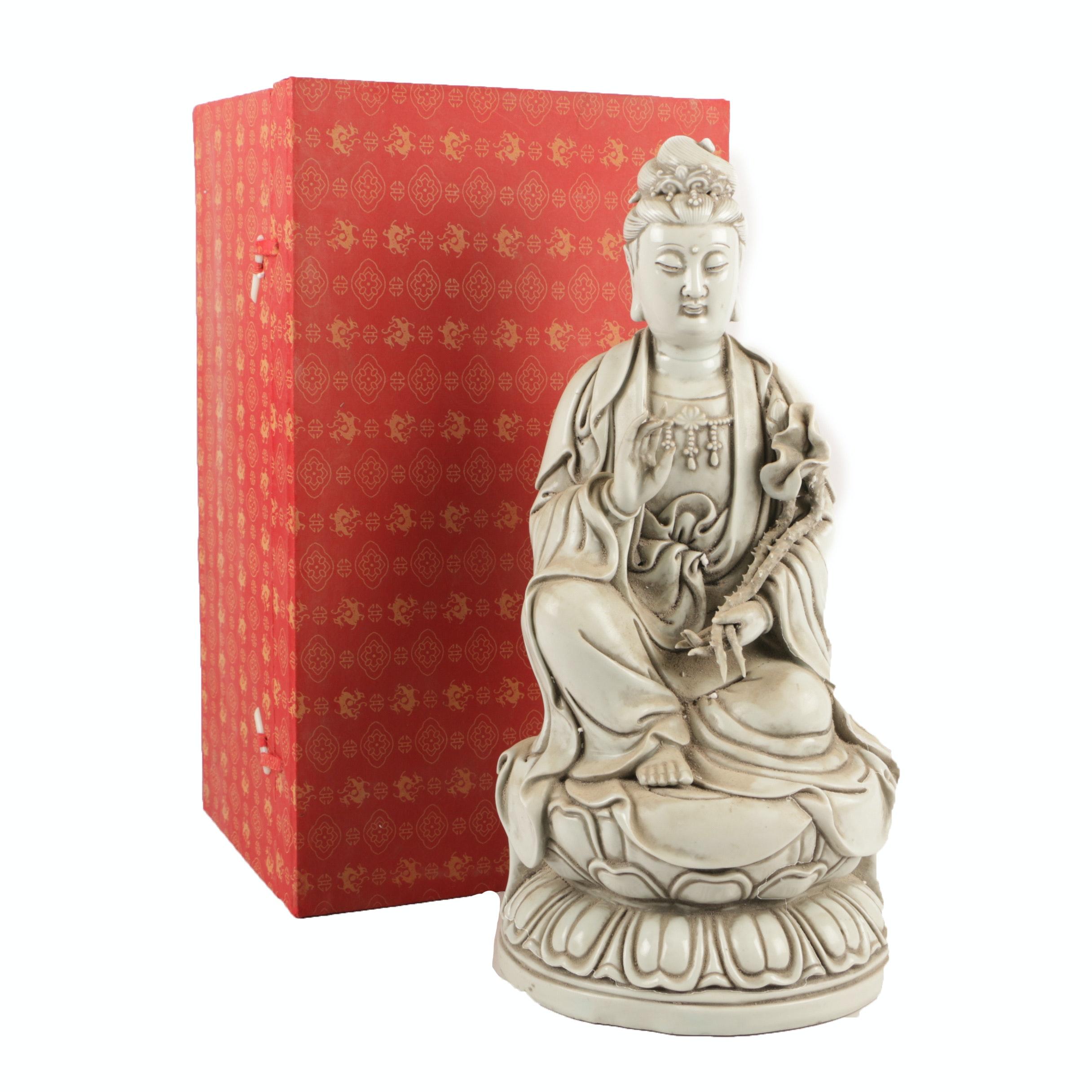 Chinese Seated Guanyin Ceramic Figurine