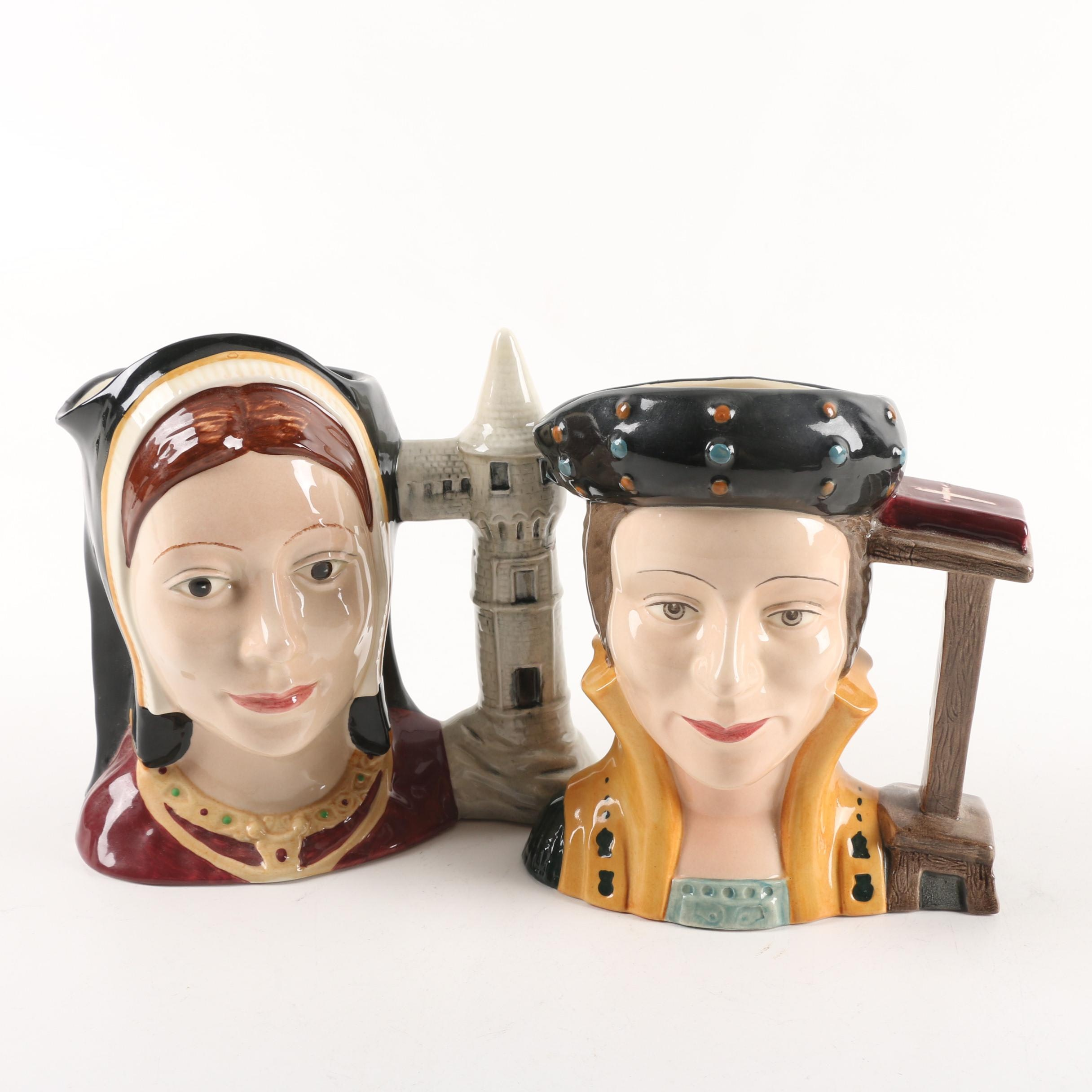"""Vintage Royal Doulton """"Catherine of Aragon"""" and """"Catherine Parr"""" Character Jugs"""
