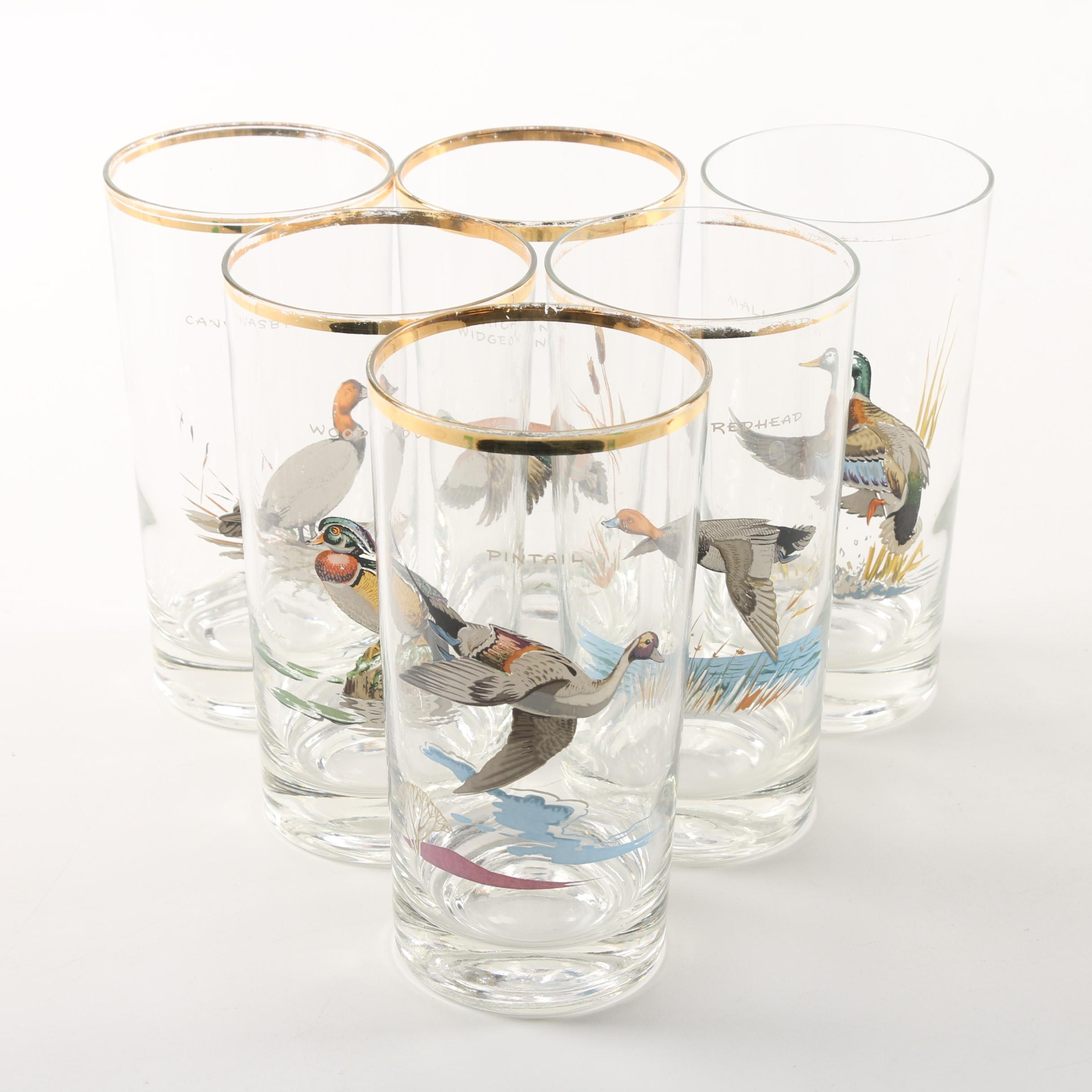 Vintage Ned Smith for West Virginia Glass Specialty Gamebird Highball Glasses