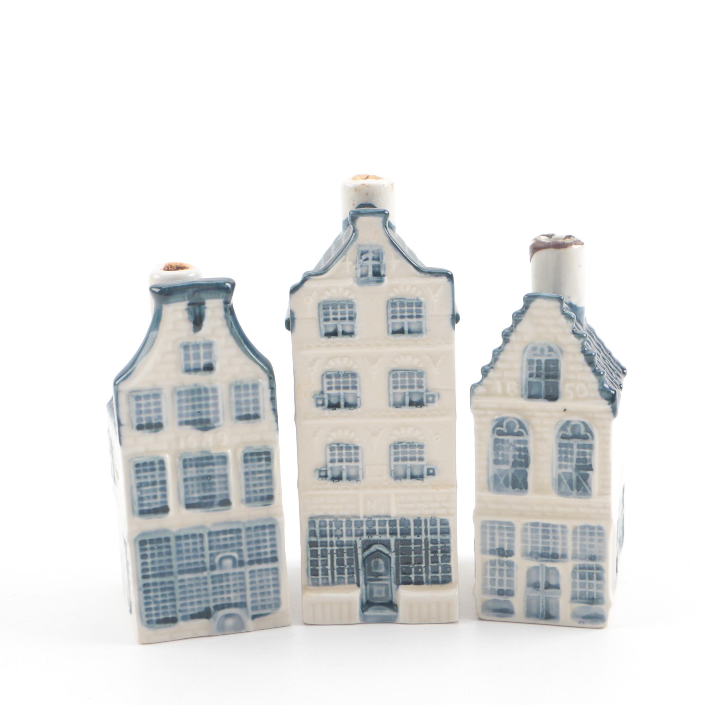 KLM for Rynbende Distillery Delf Blue Porcelain Canal House Miniature Decanters